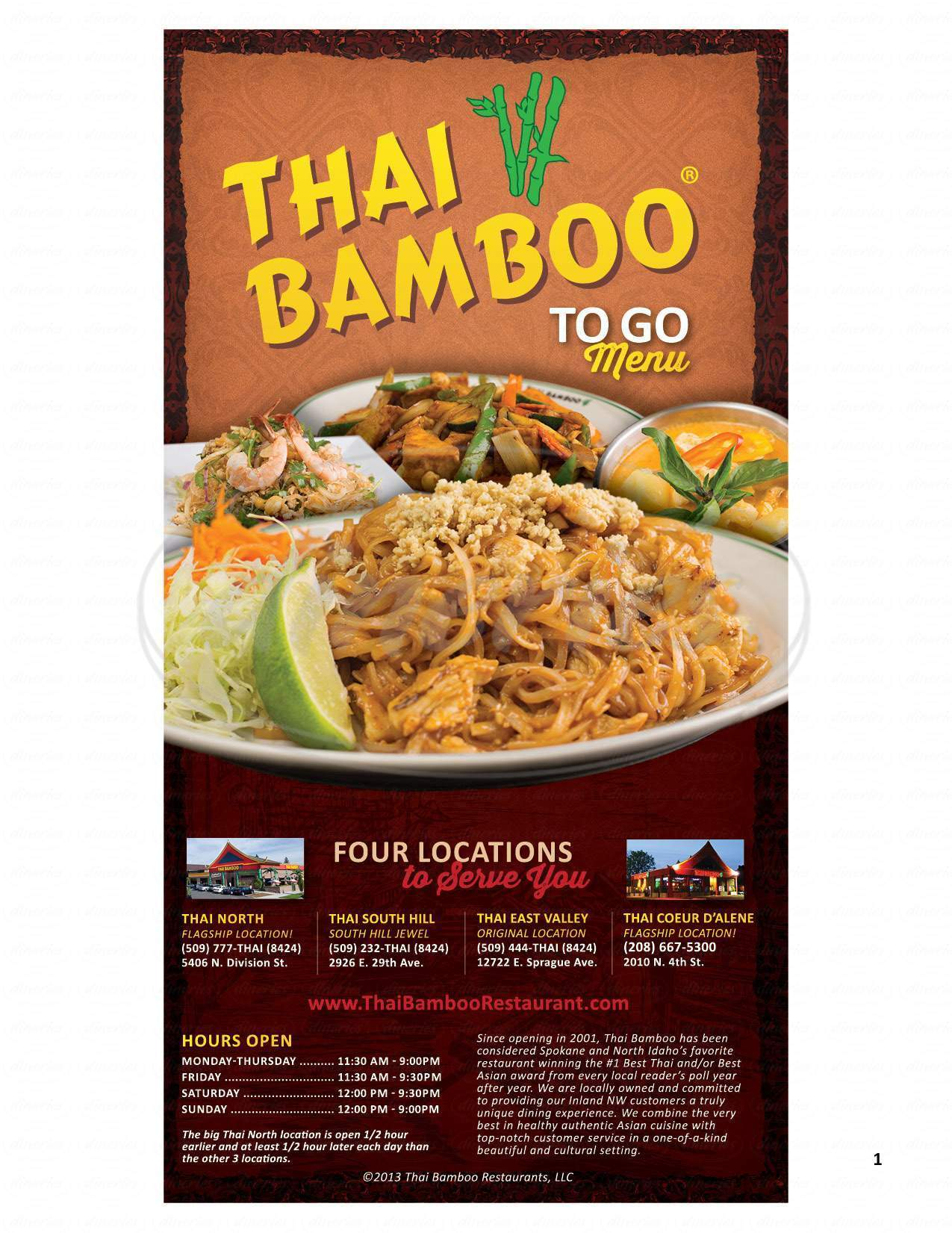 menu for Thai Bamboo