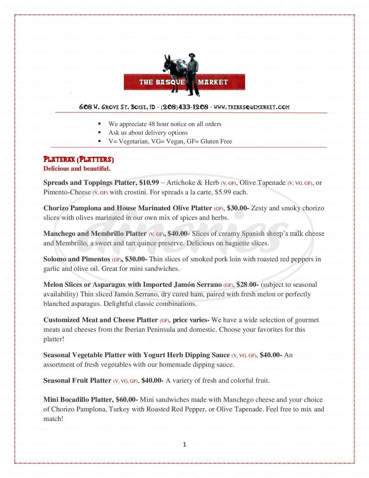 menu for The Basque Market