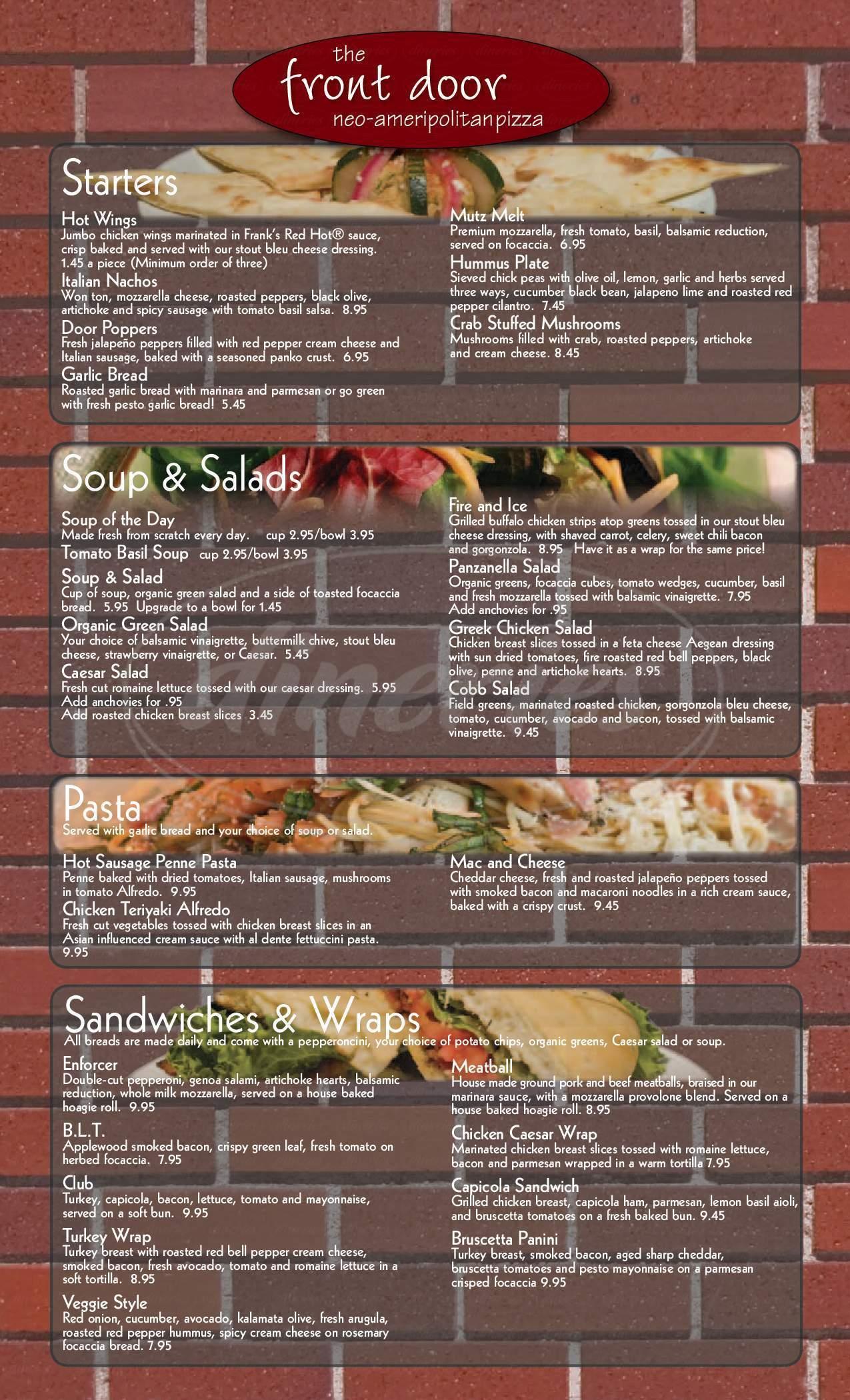 menu for The Front Door