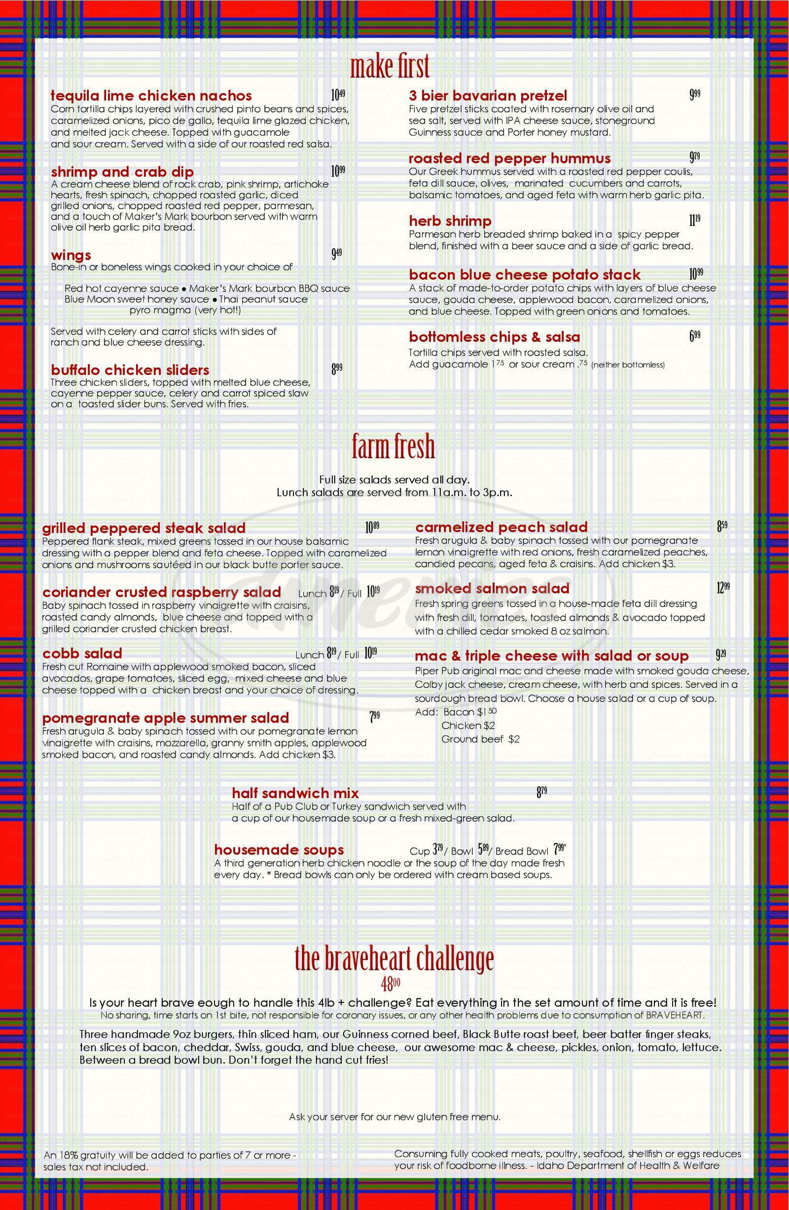 menu for The Piper Pub & Grill