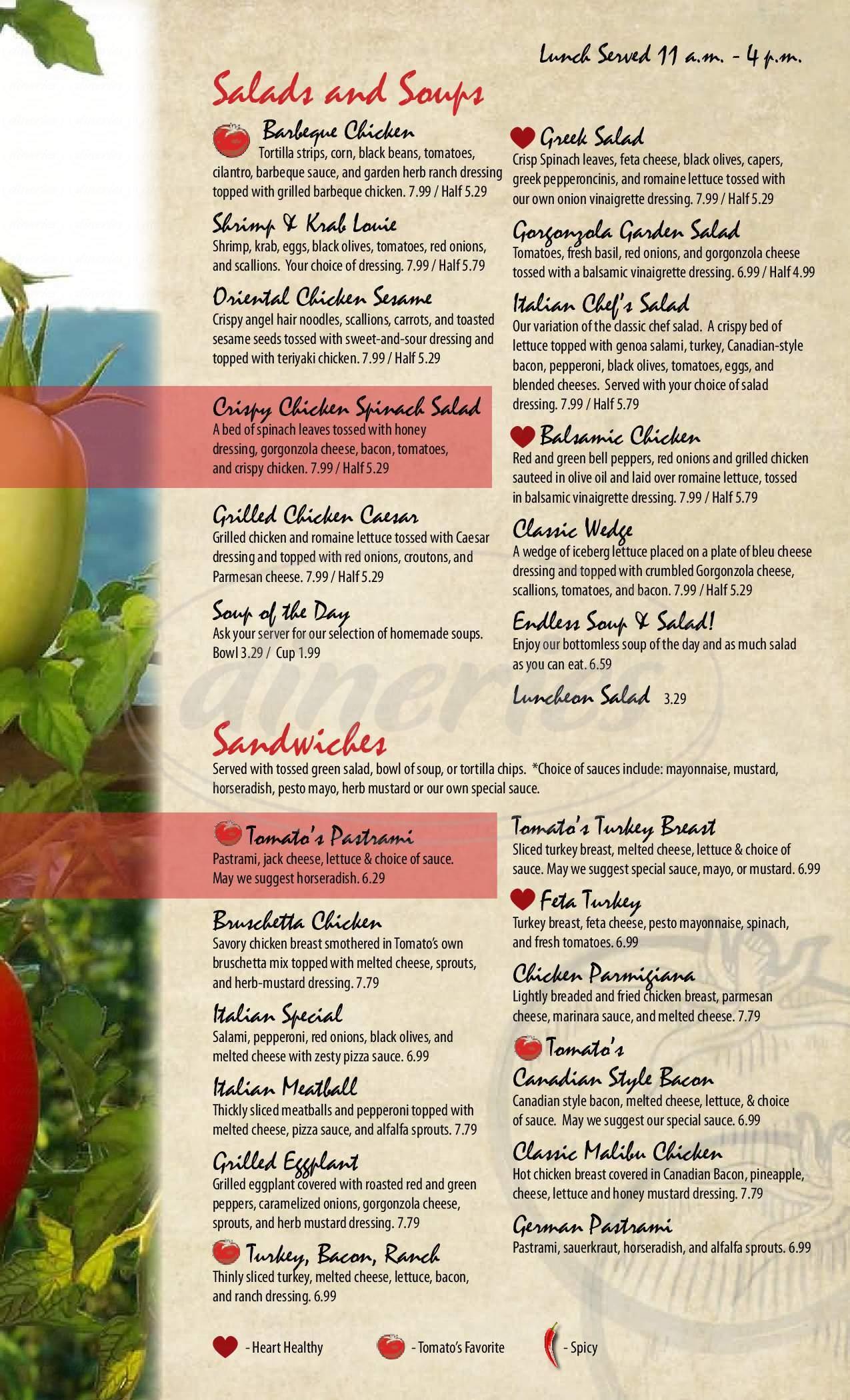 menu for Tomato's Italian Grill