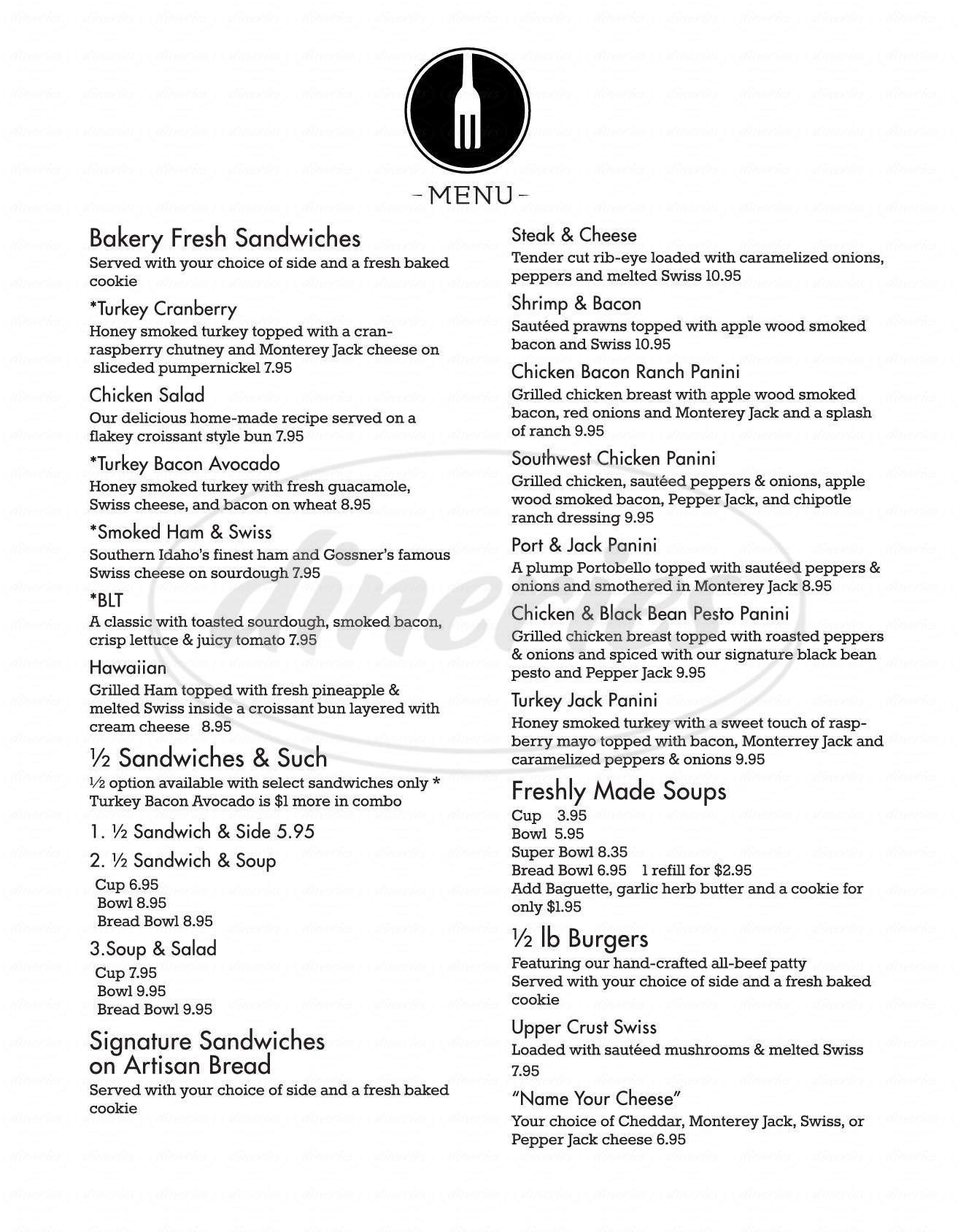 menu for Upper Crust Bistro & Grill