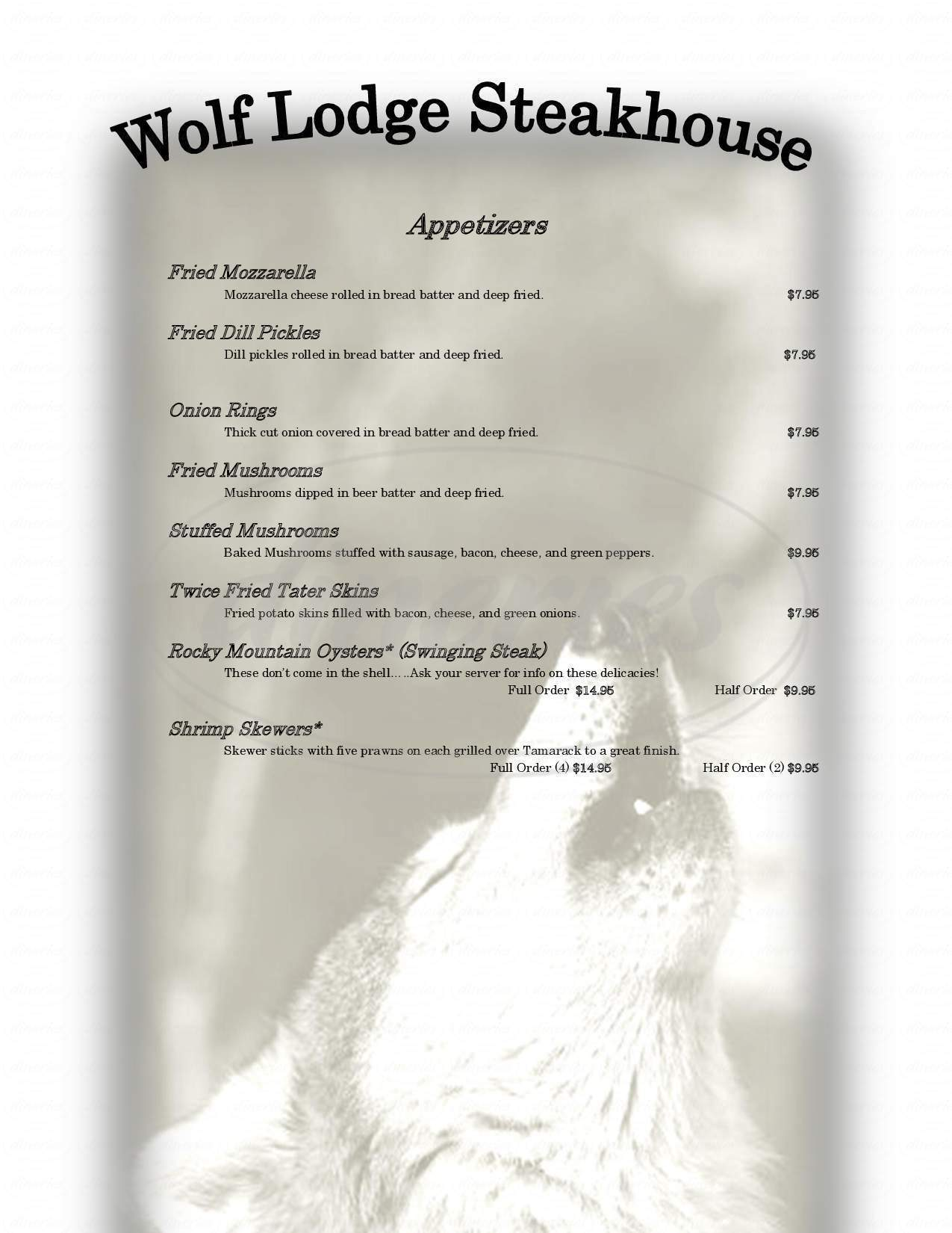 menu for Wolf Lodge Inn Steakhouse