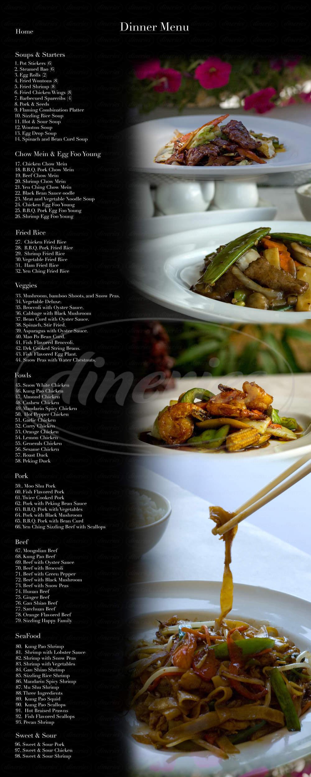 menu for Yen Ching Chinese Restaurant