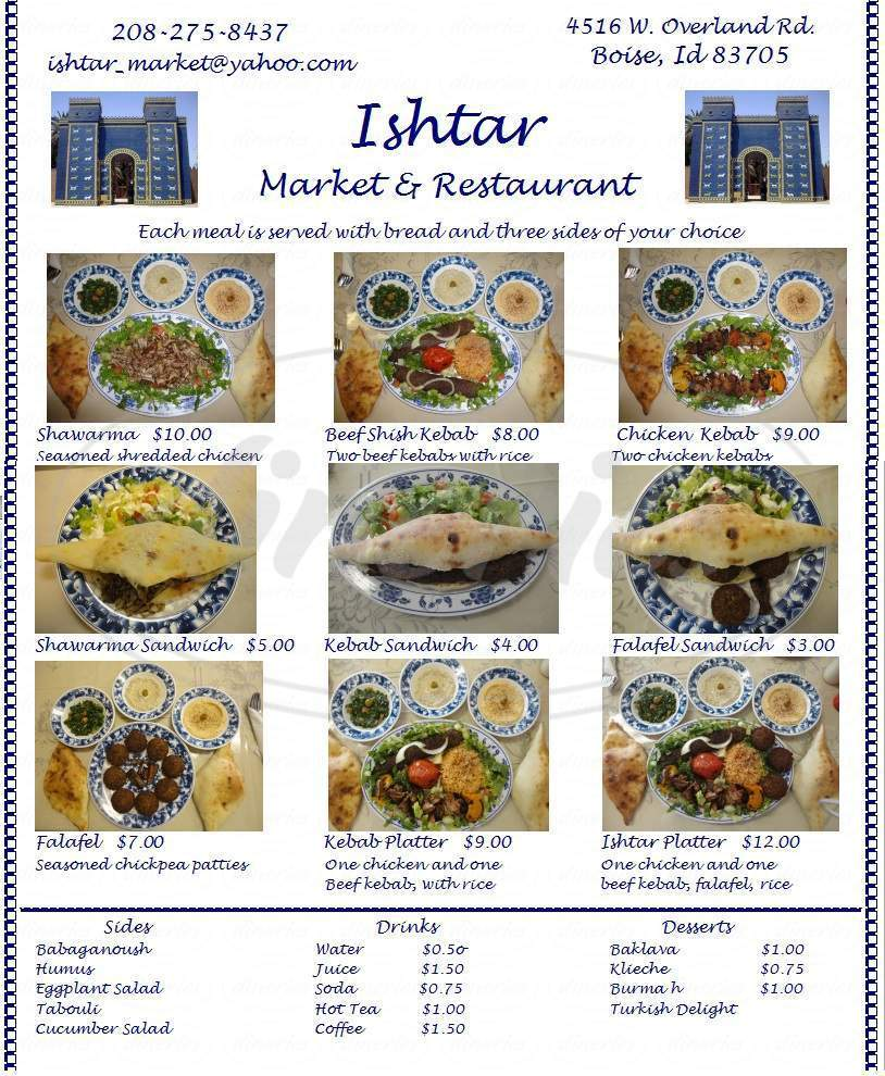 menu for Ishtar Market and Restaurant