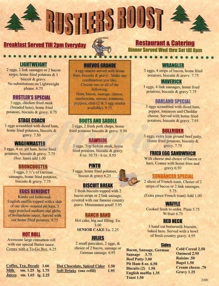 menu for Rustler's Roost