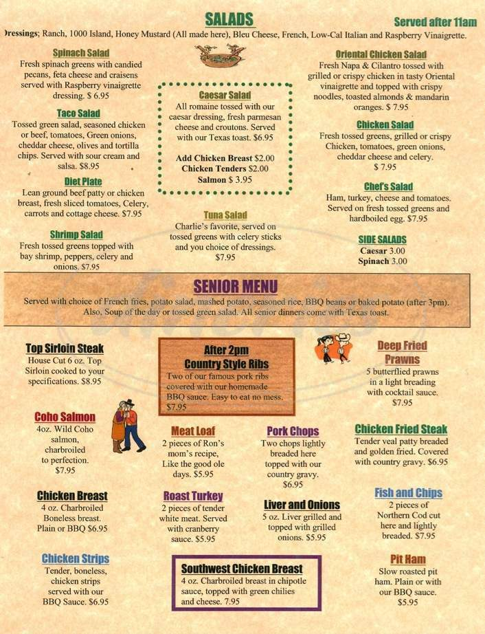 menu for Rustler's Roost