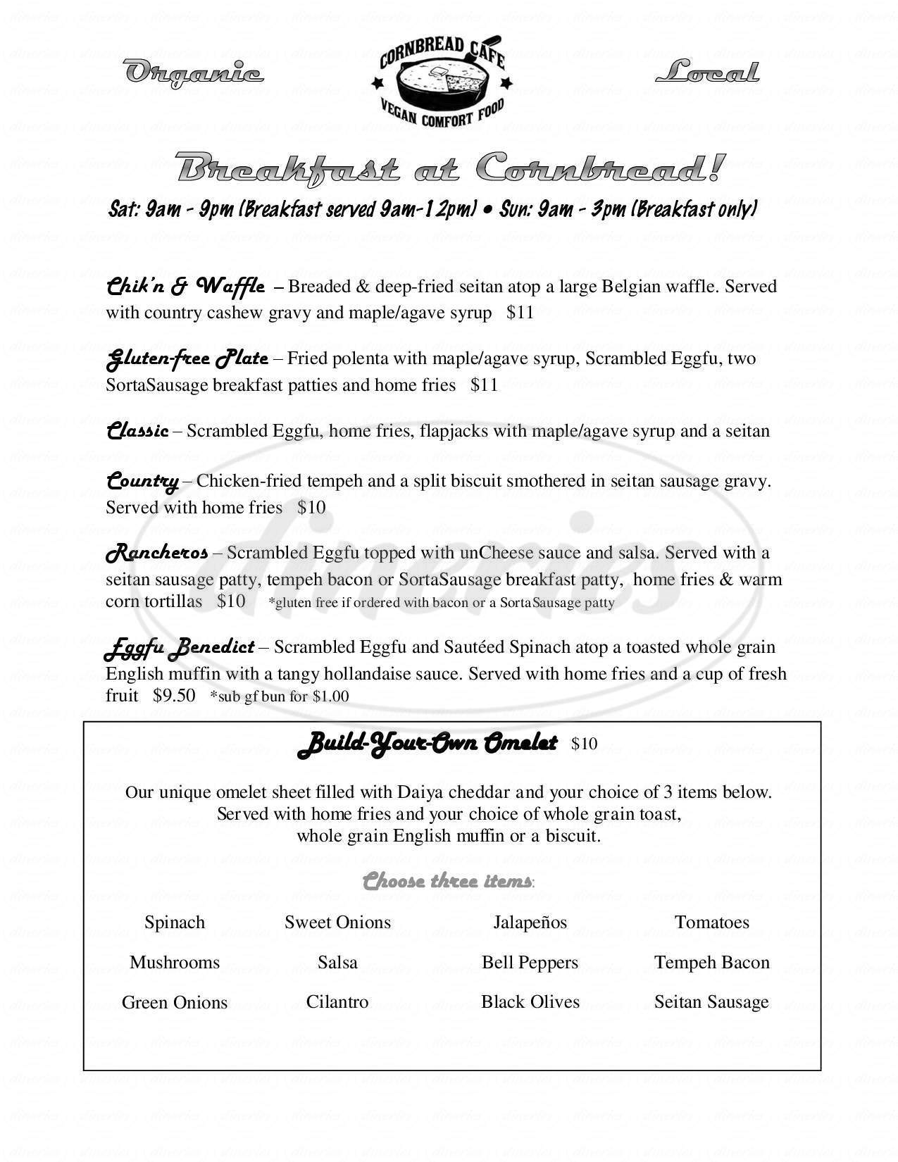 menu for Cornbread Cafe