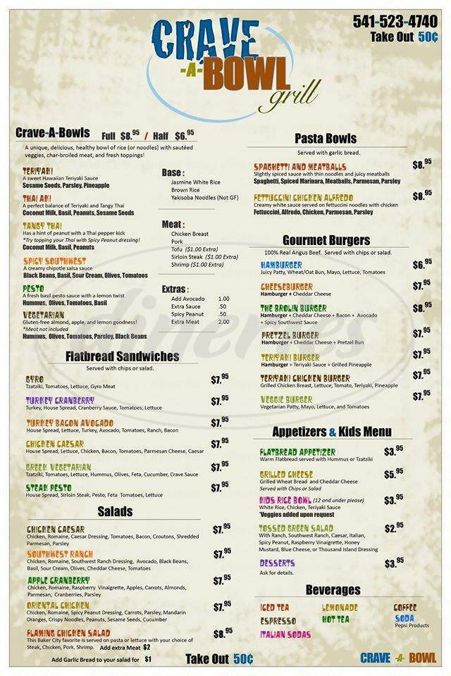 menu for Crave-A-Bowl Grill