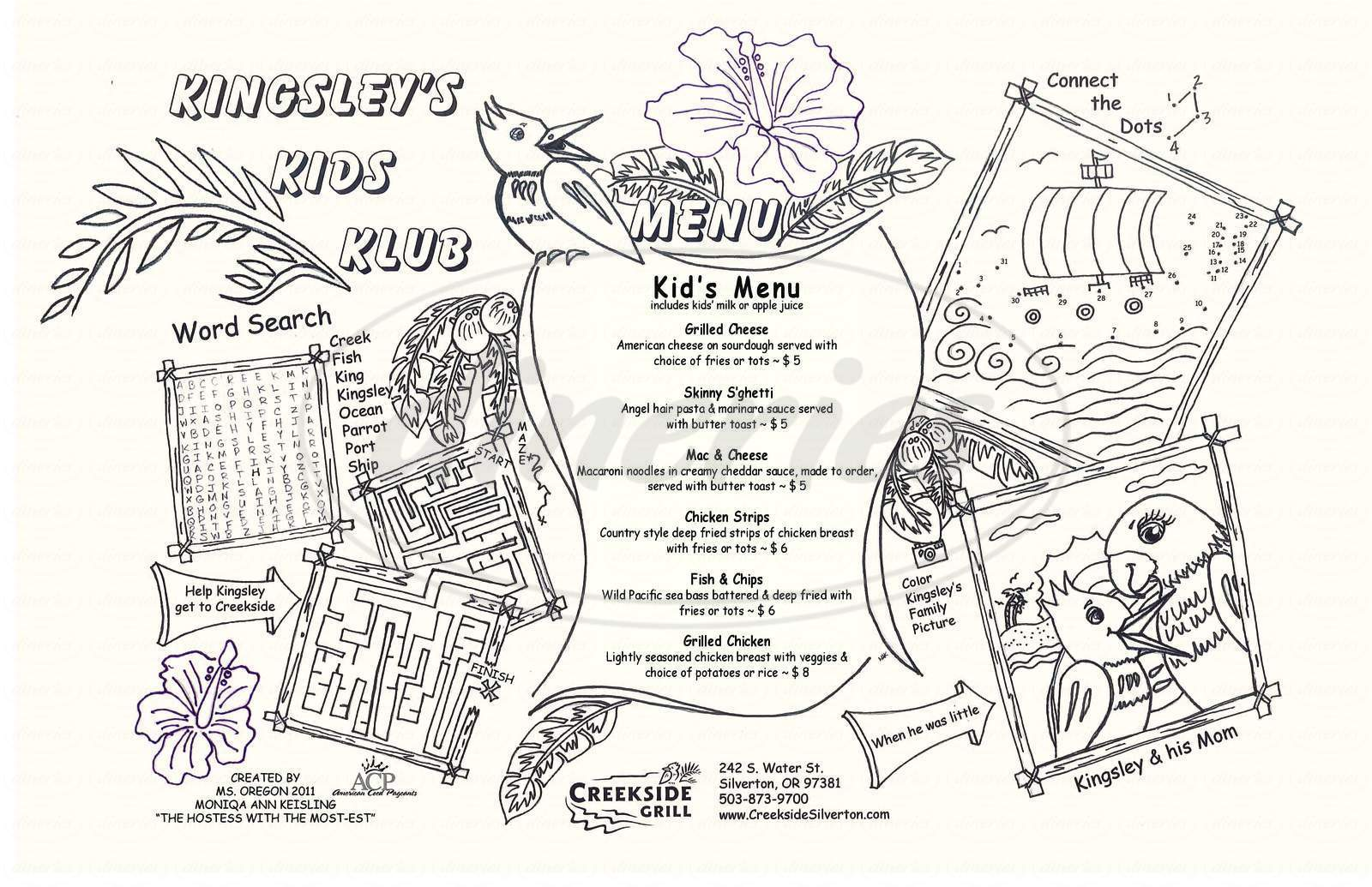 menu for Creekside Grill