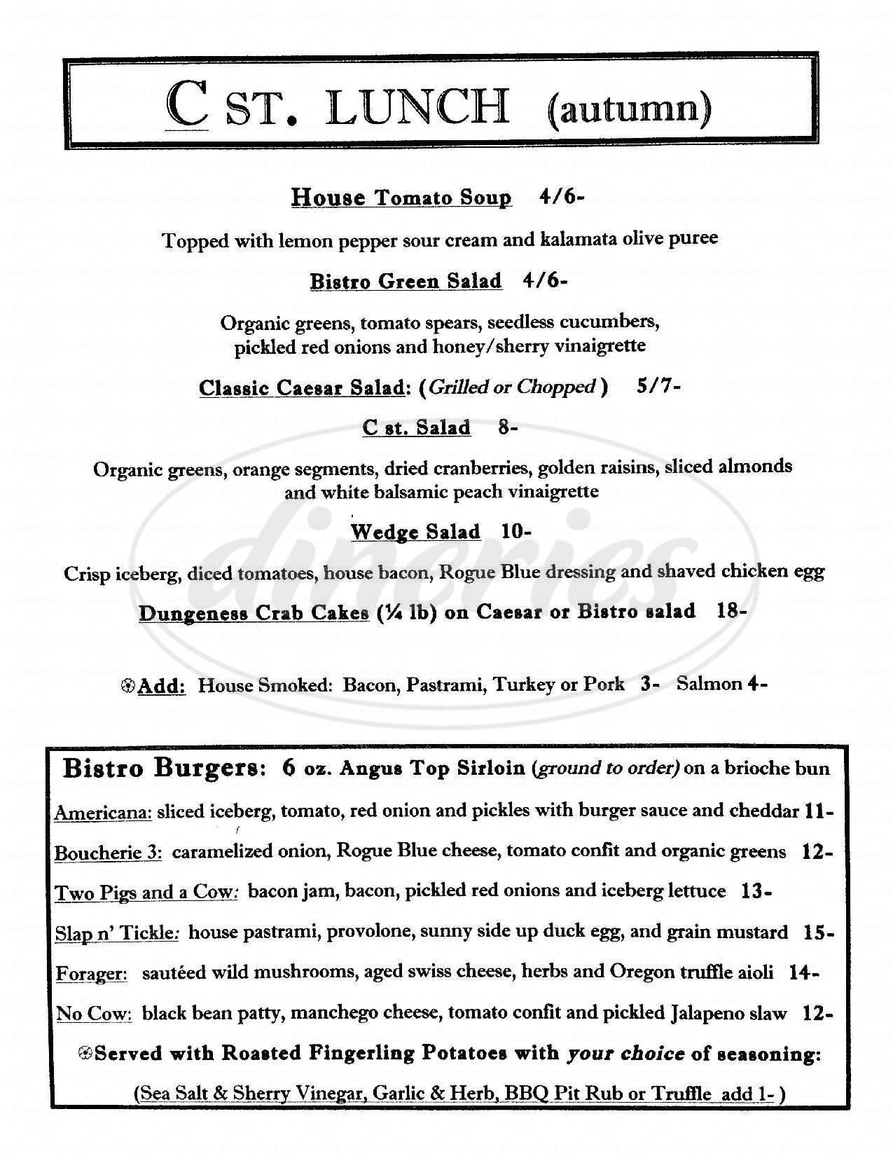 menu for C Street Bistro
