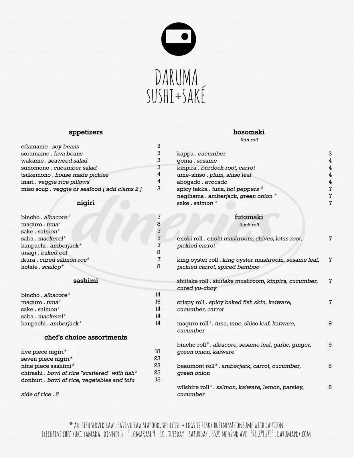 menu for Daruma