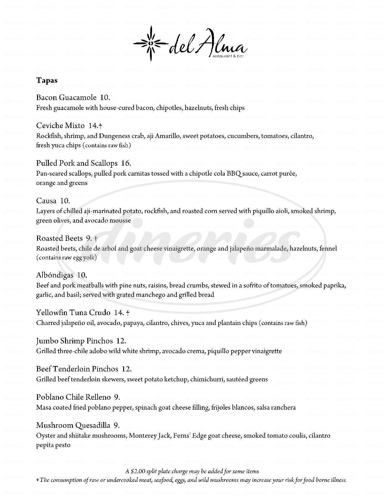menu for Del Alma