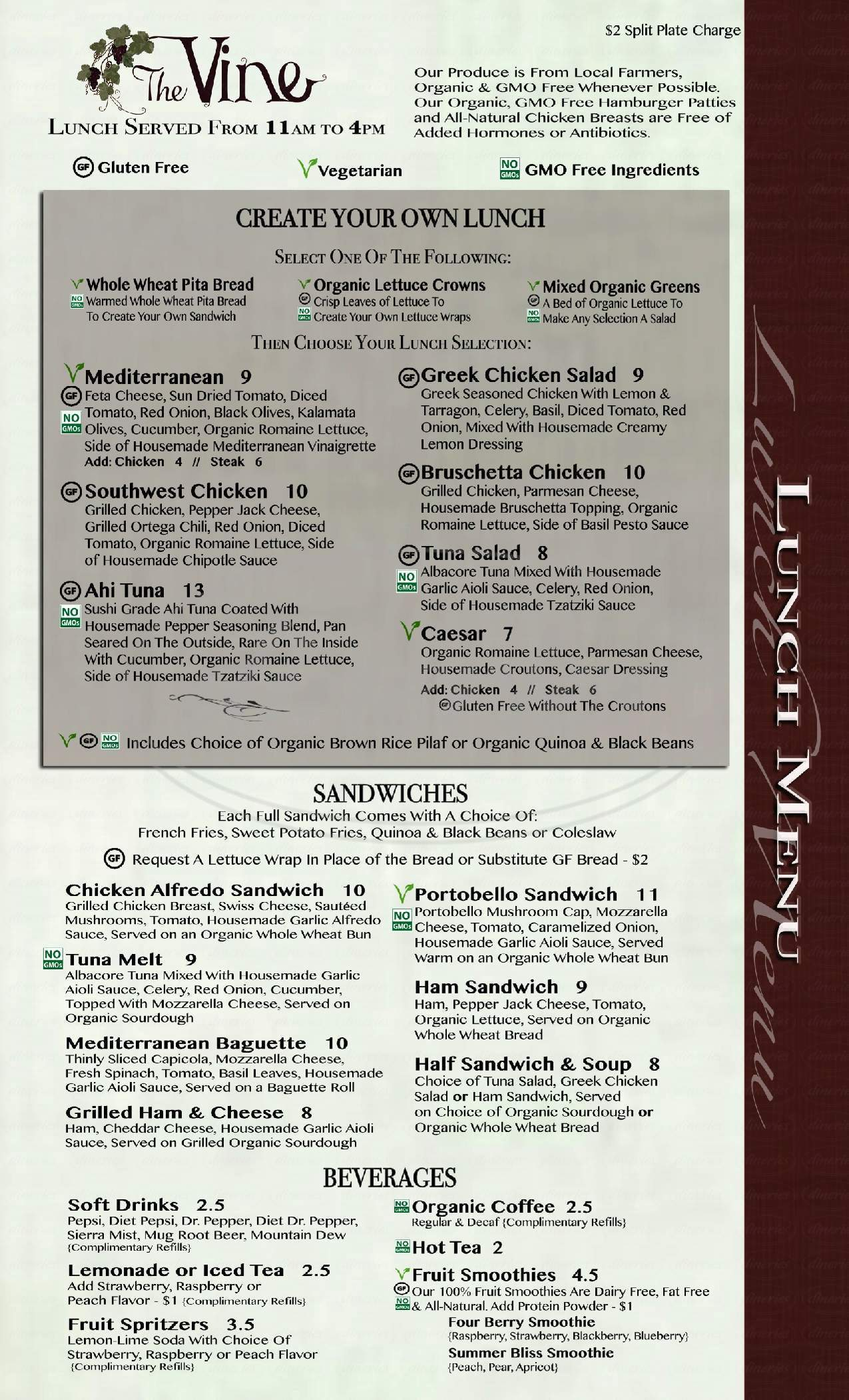 menu for The Vine Restaurant
