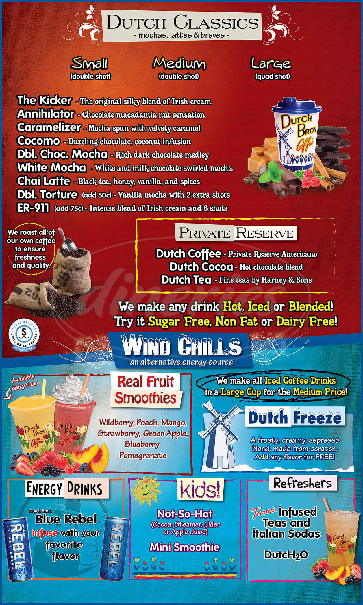 menu for Dutch Bros Coffee