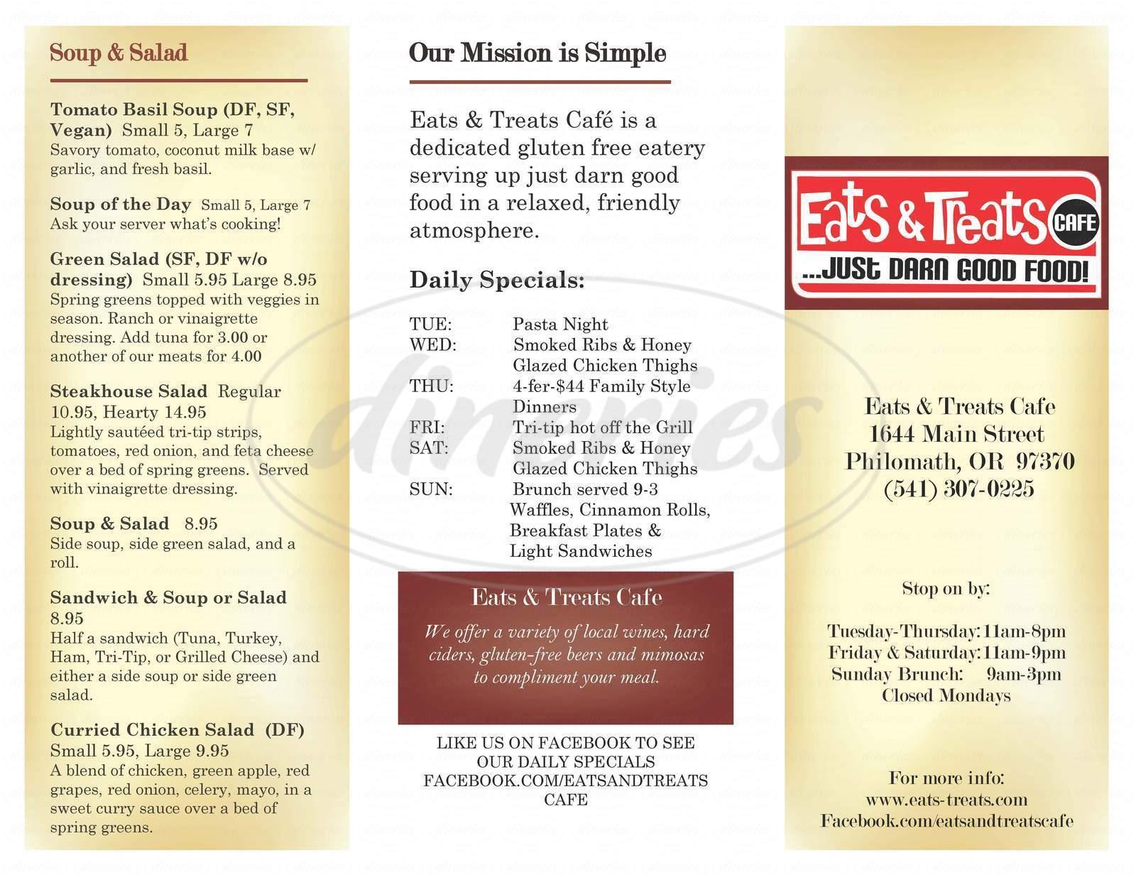 menu for Eats & Treats Cafe