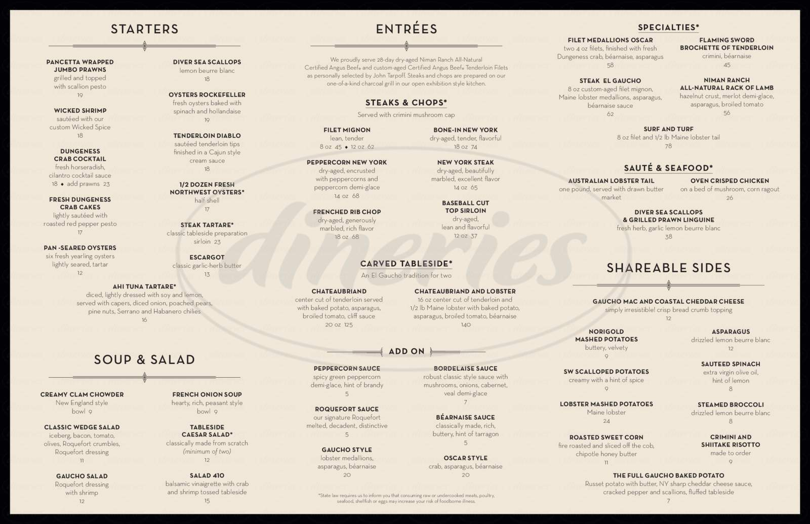 menu for El Gaucho