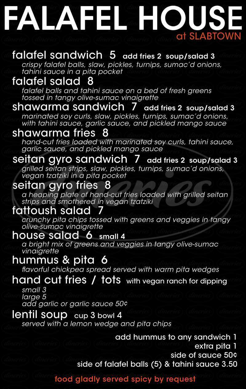 menu for Falafel House At Slabtown