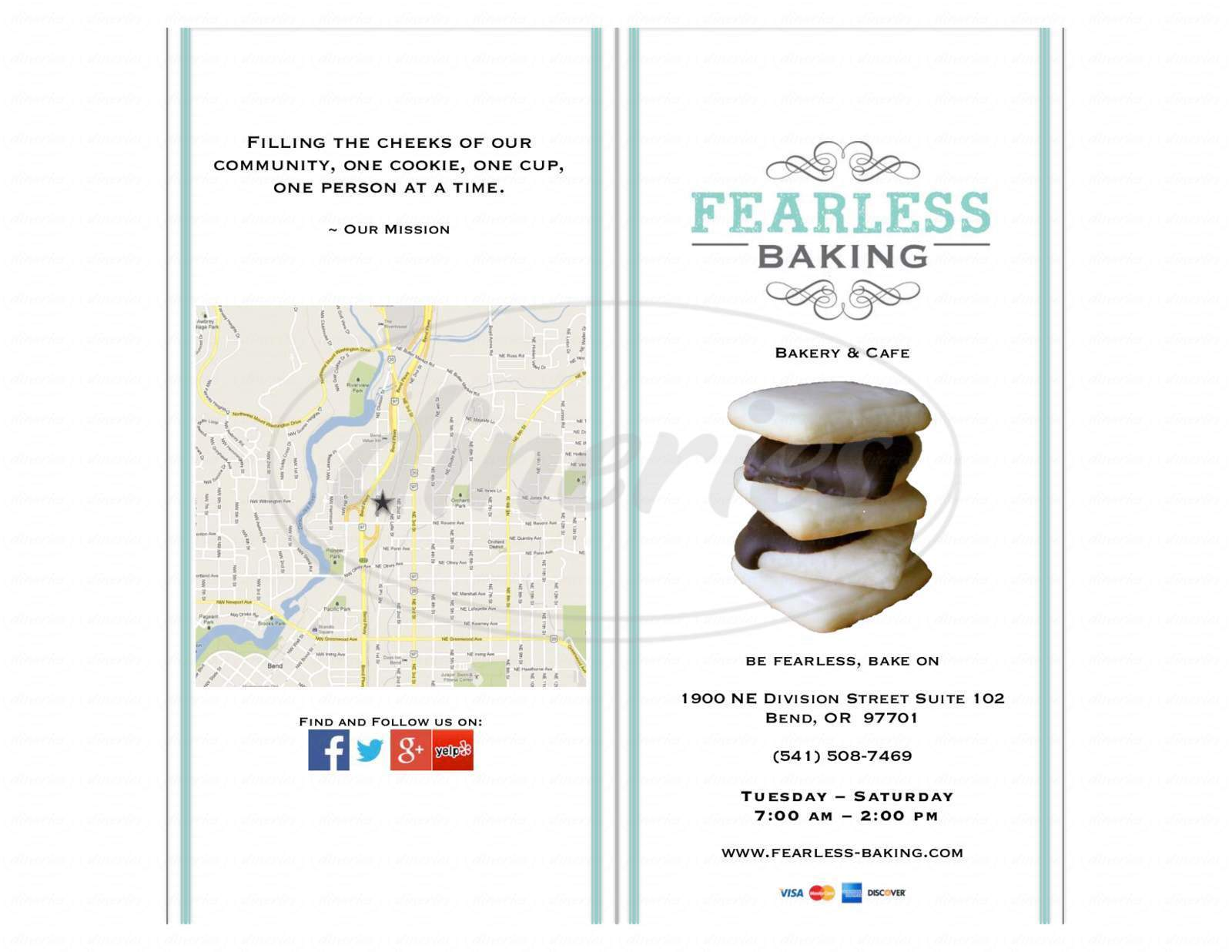 menu for Fearless Baking Bakery & Cafe