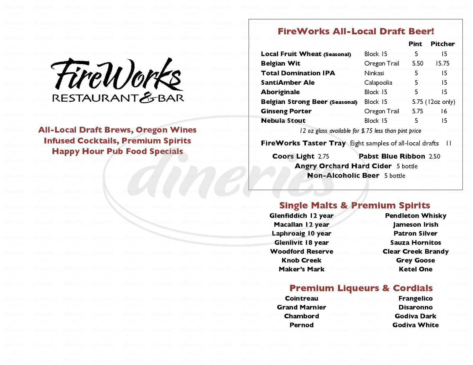 menu for FireWorks Restaurant & Catering