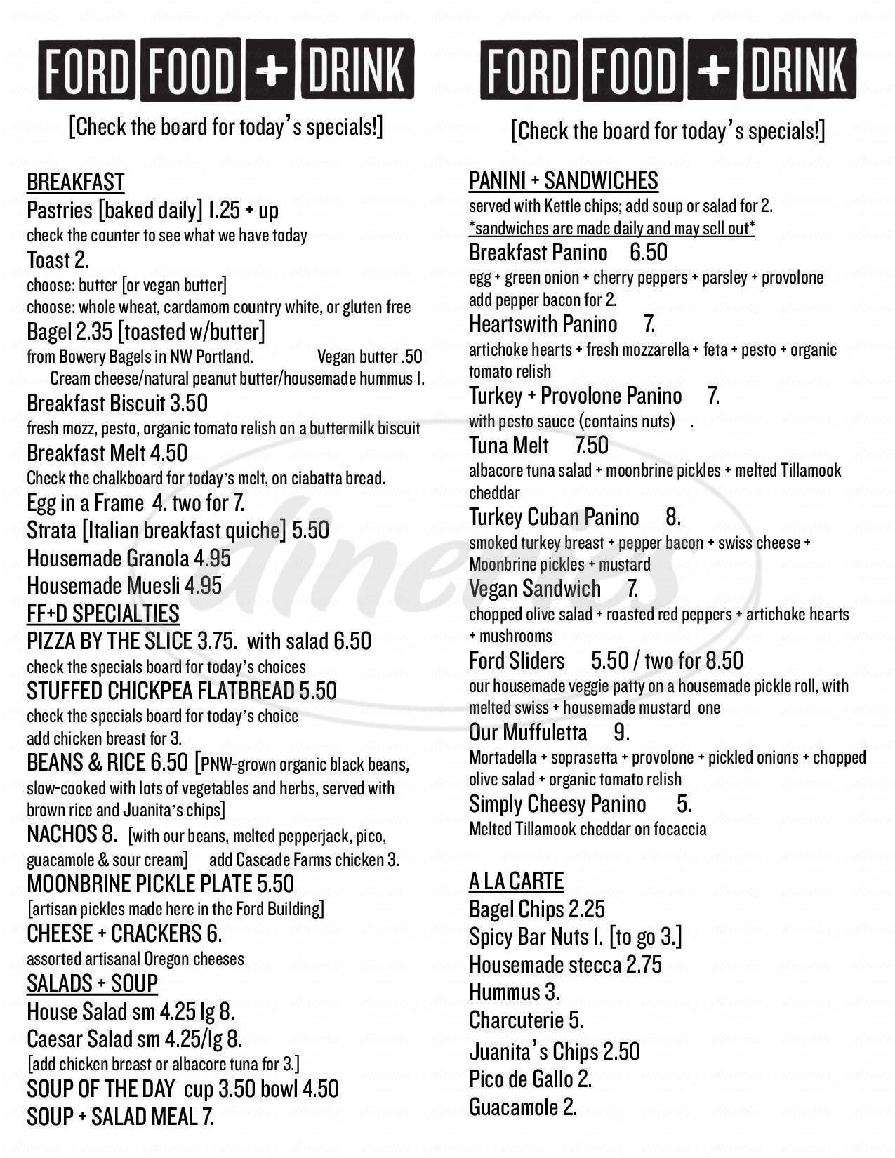 menu for Ford Food and Drink