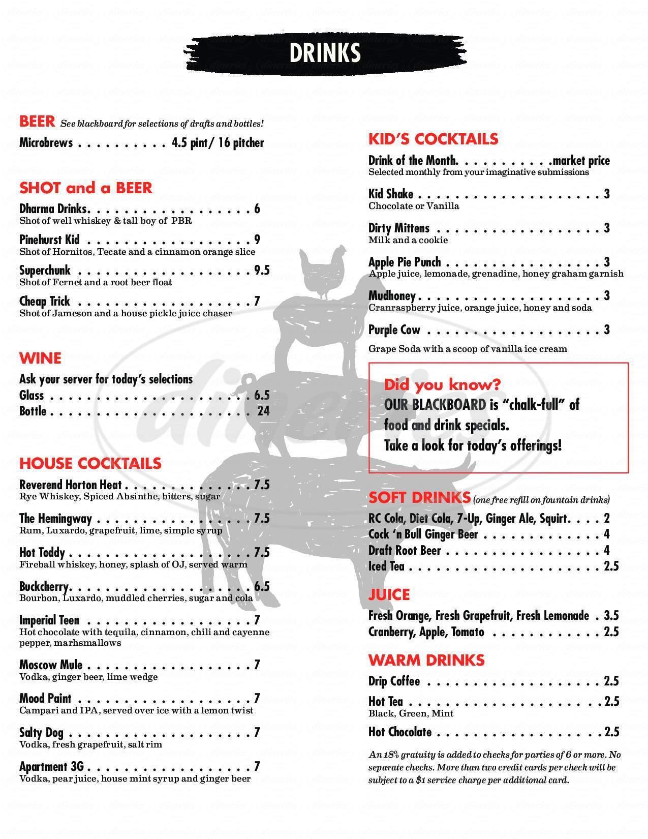 menu for Foster Burger