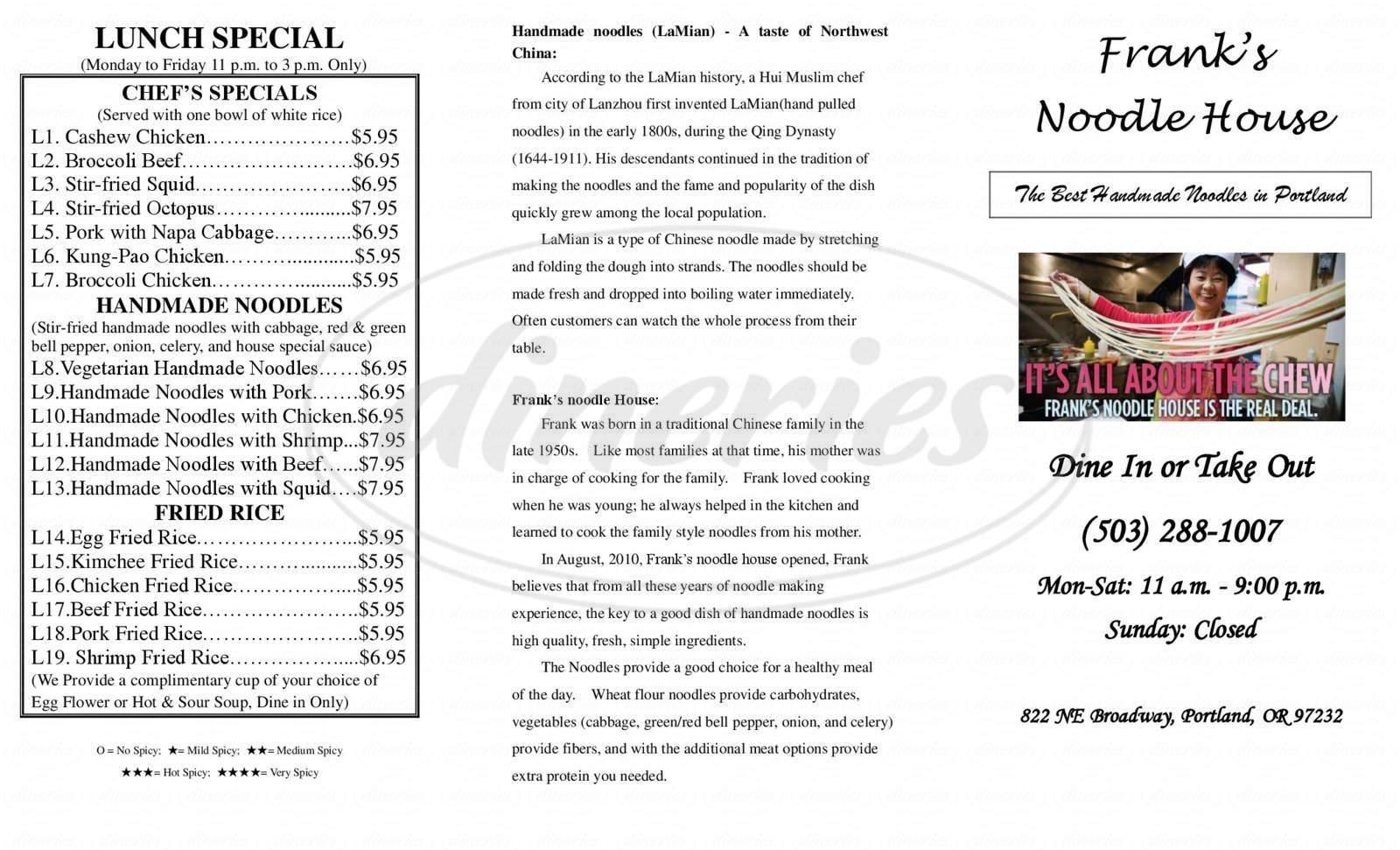 menu for Frank's Noodle House