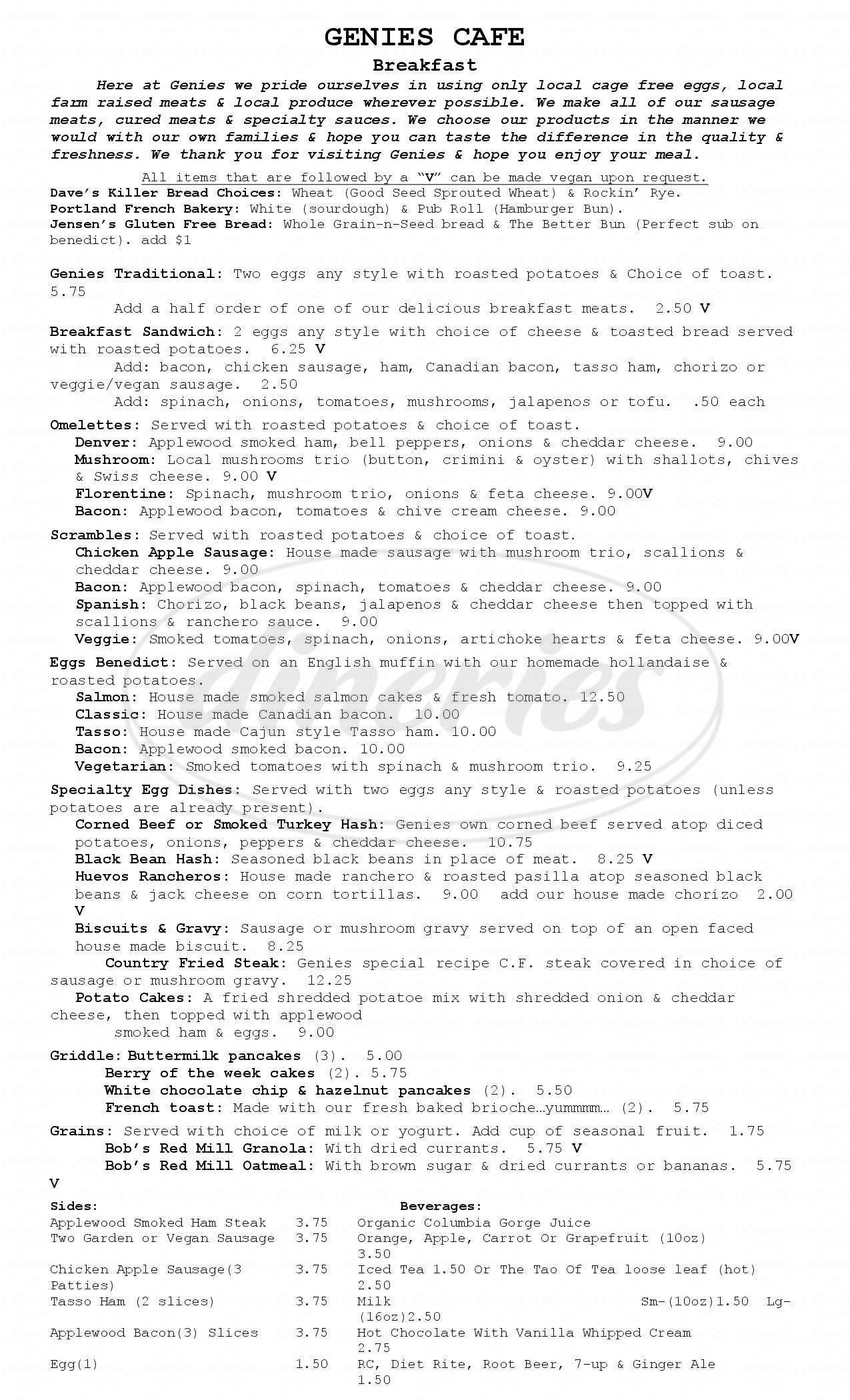 menu for Genies Cafe