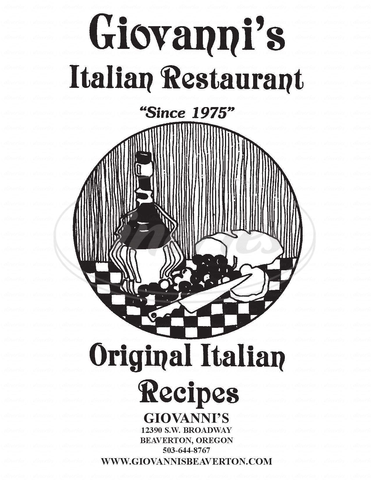 menu for Giovanni's