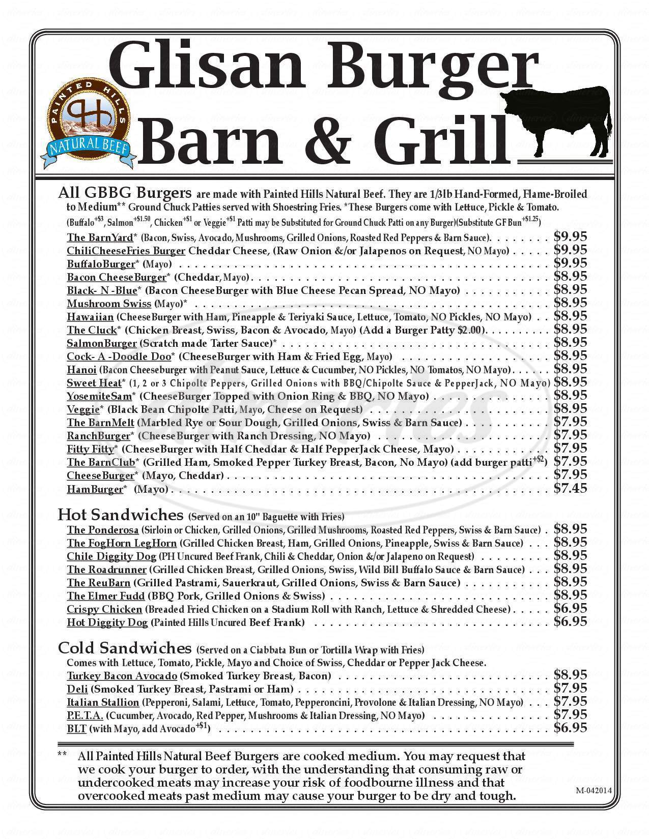 menu for Glisan Burger Barn