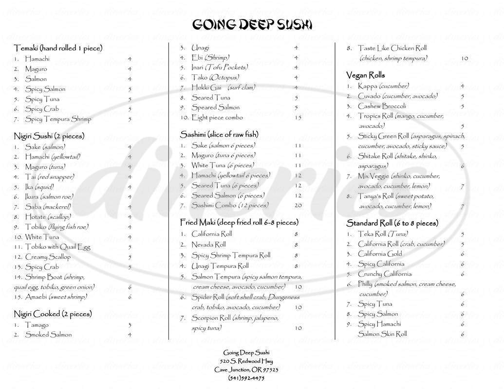 menu for Going Deep Sushi