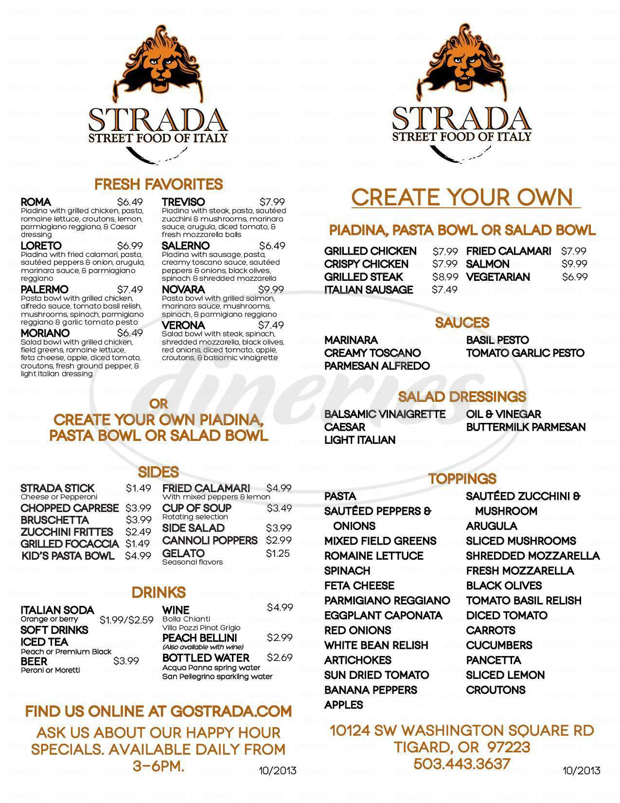 menu for Strada: Street Food of Italy
