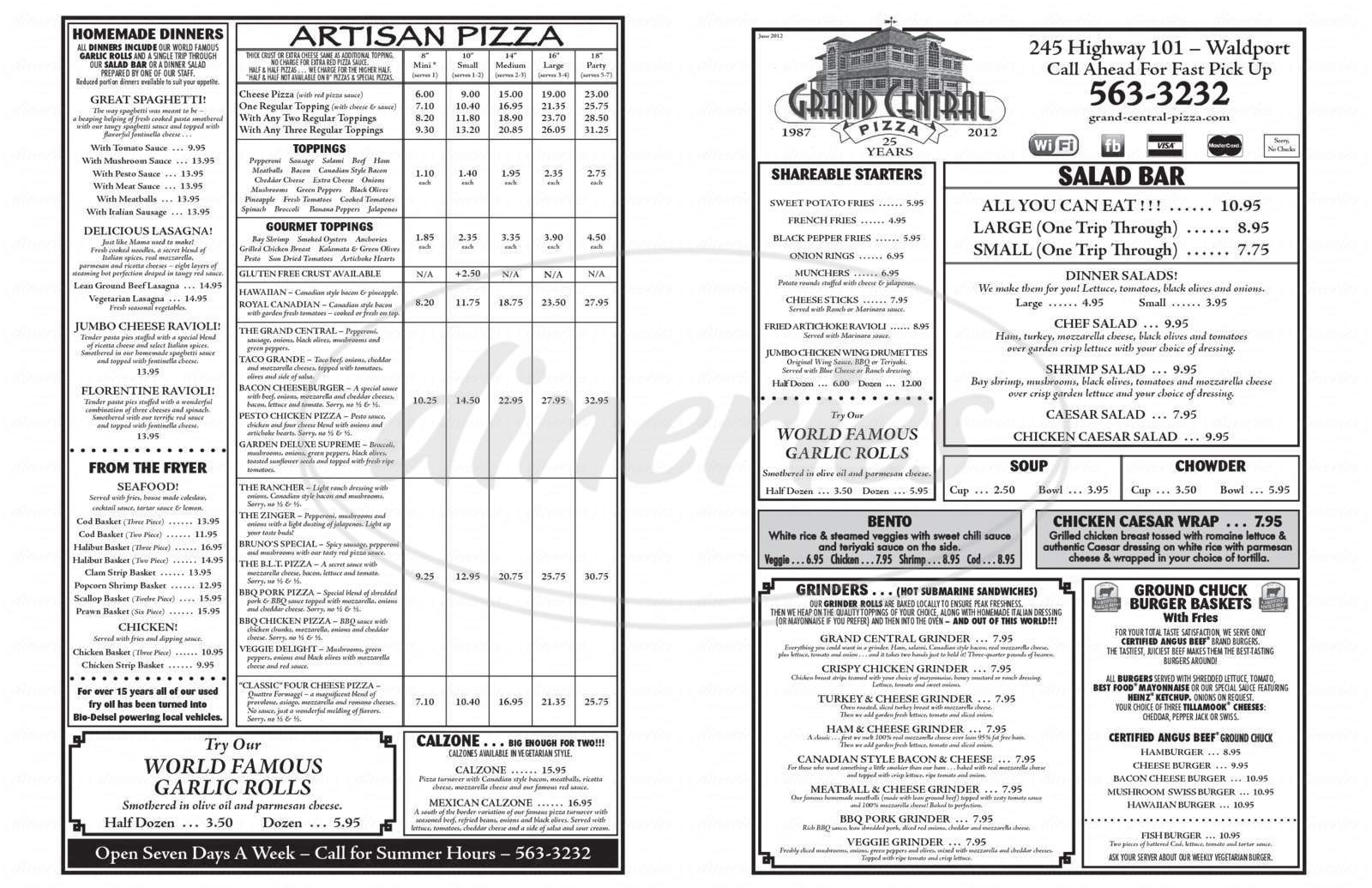 menu for Grand Central Pizza
