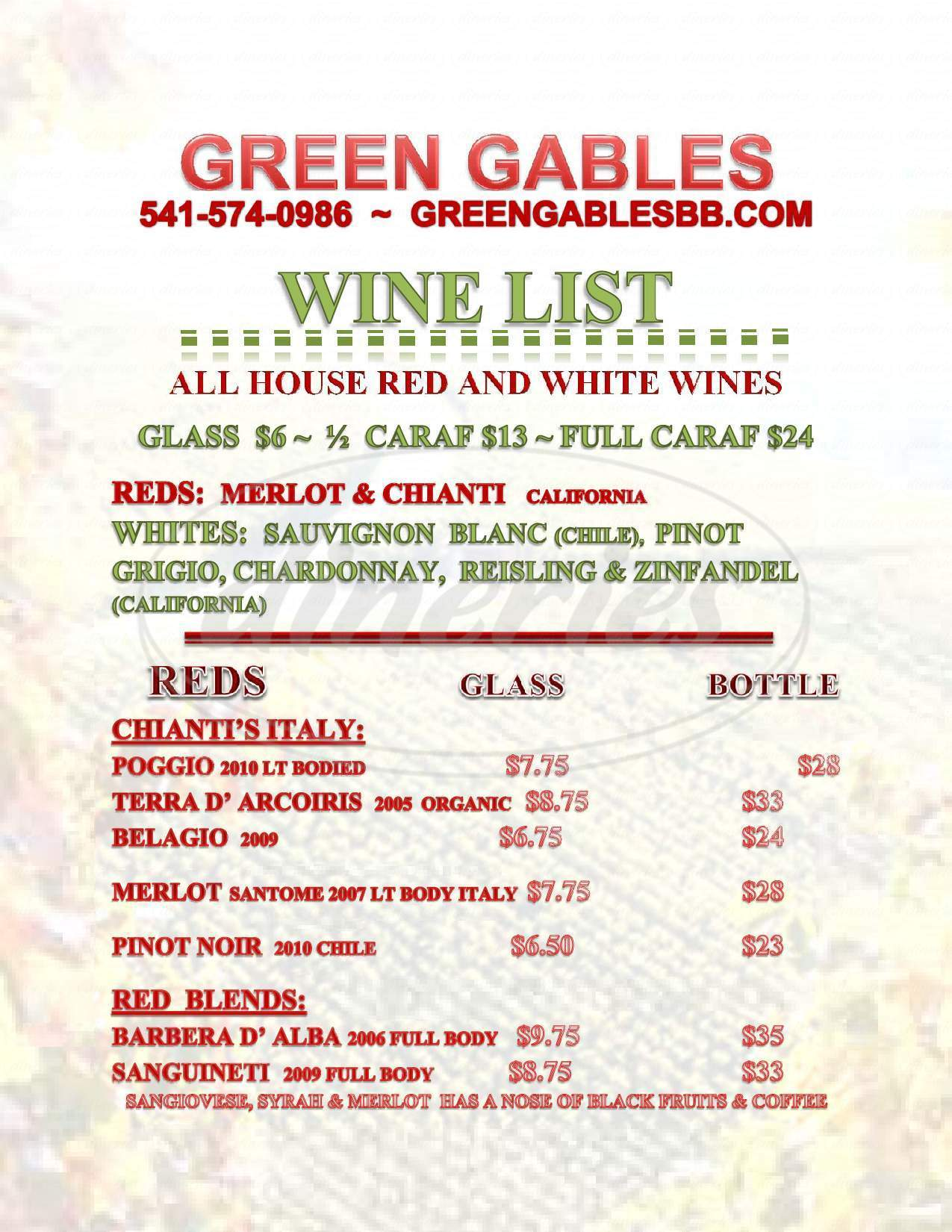 menu for Green Gables Bed & Breakfast & Italian Cafe
