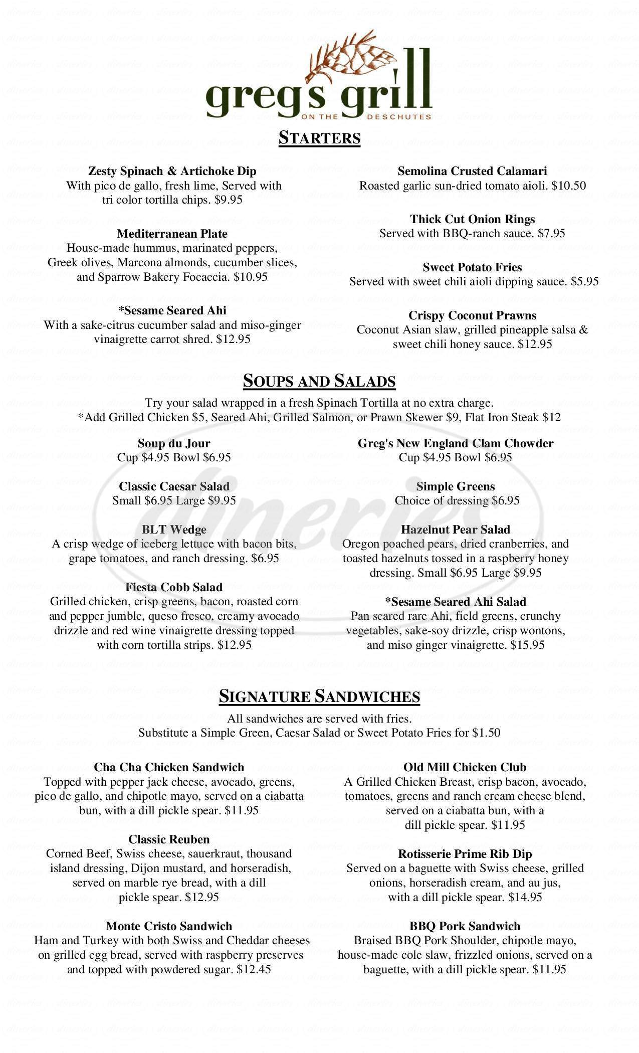 menu for Greg's Grill