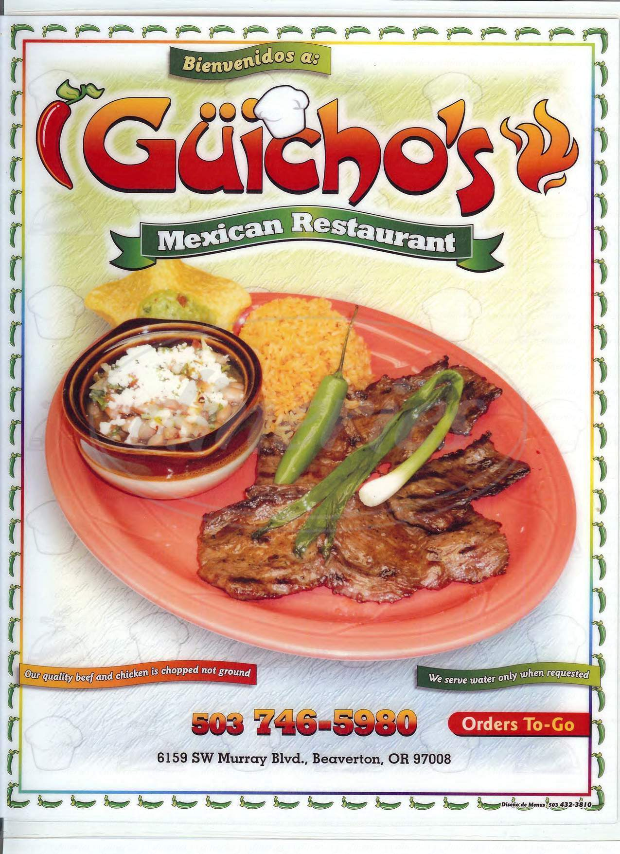menu for Guicho's Mexican Restaurant