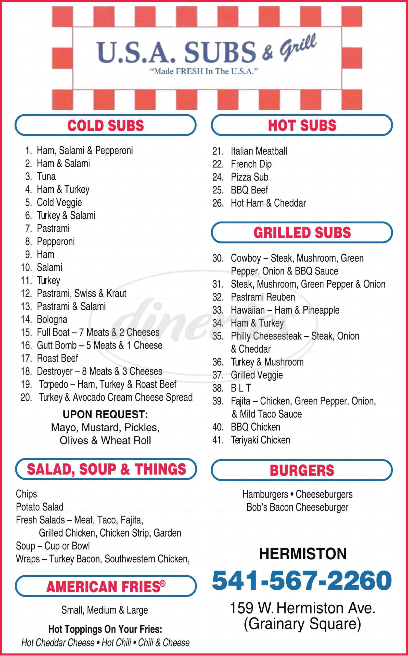menu for USA Subs & Grill