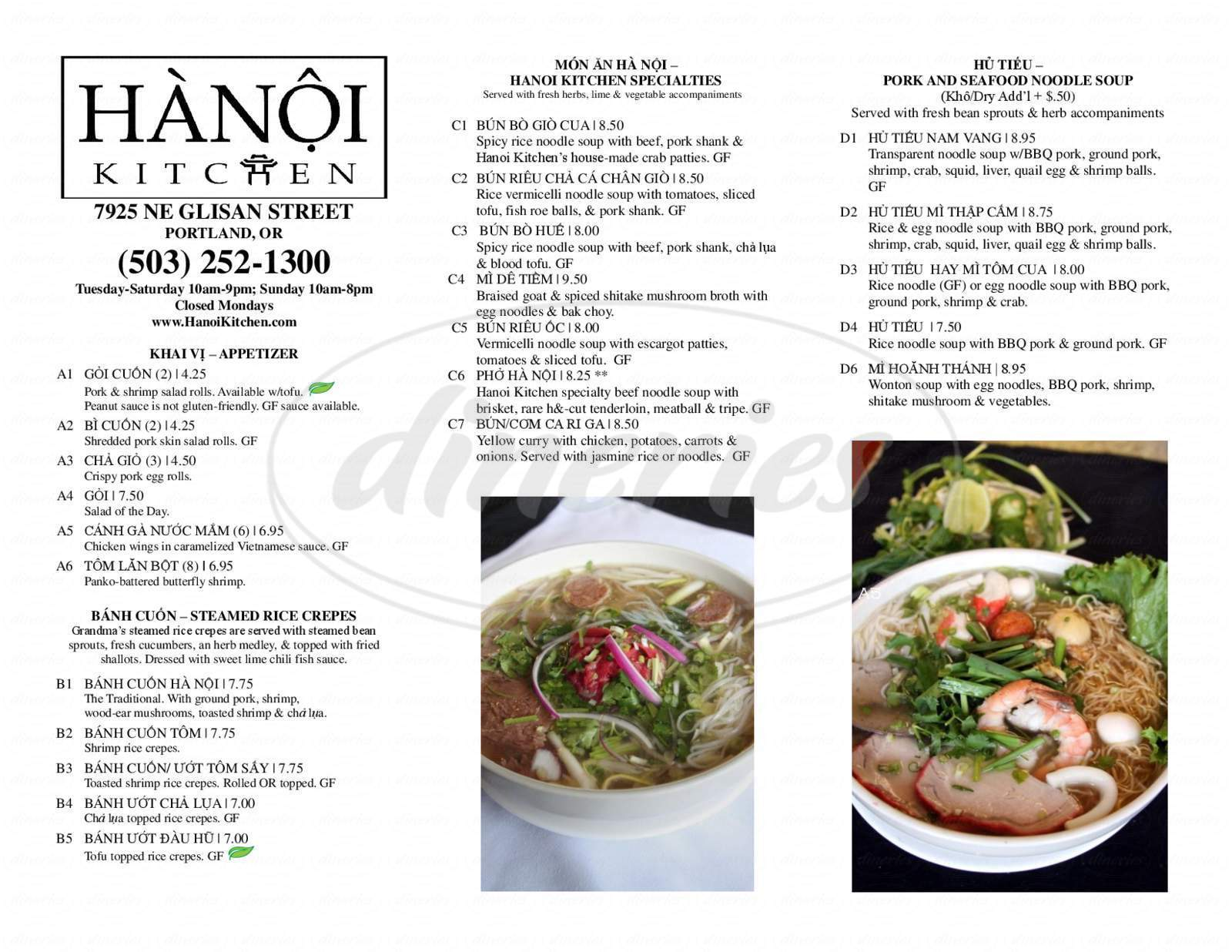 menu for Hanoi Kitchen
