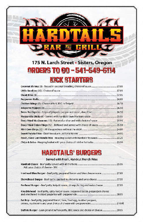 menu for Hardtails Bar & Grill