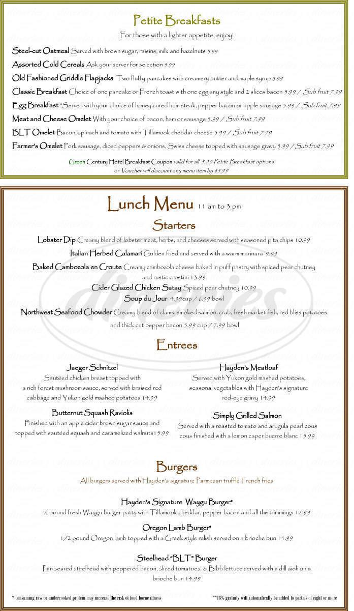 menu for Hayden's Lakefront Grill