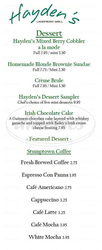 menu for Hayden's Lakefront Grill