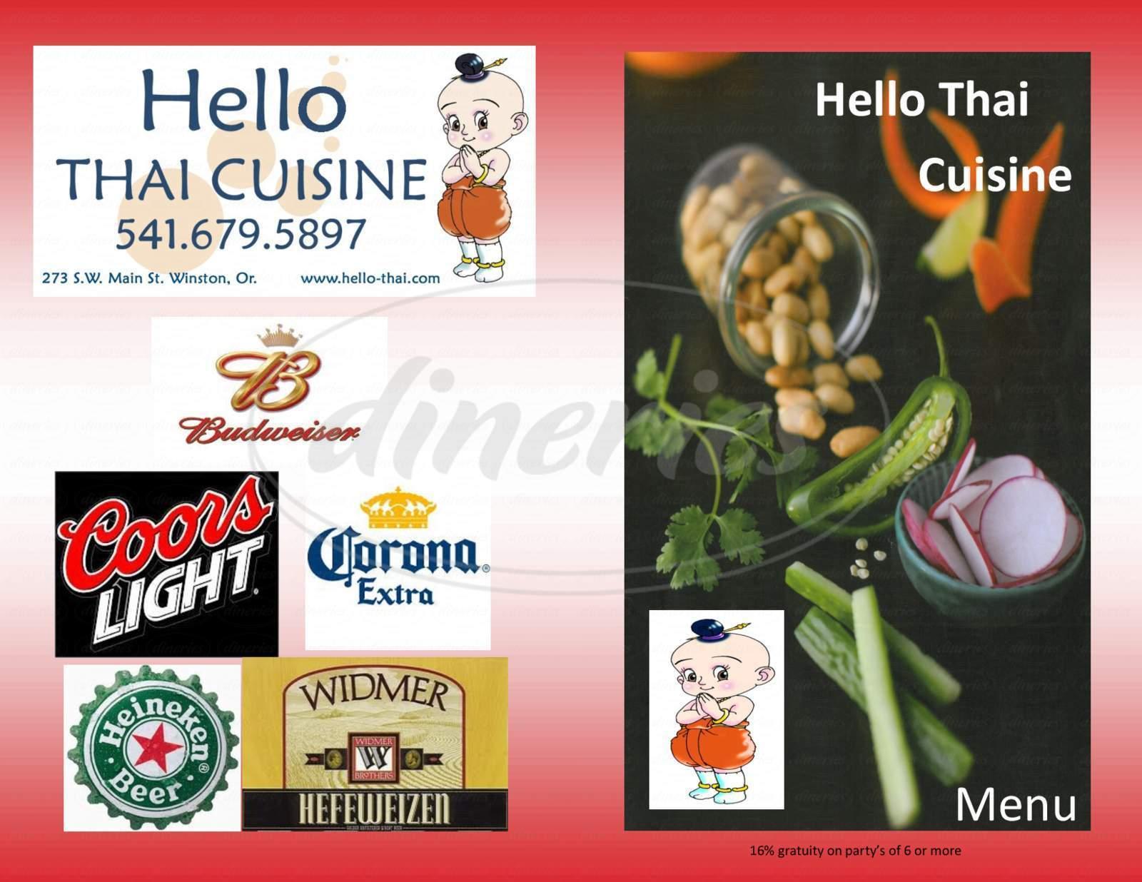 menu for Hello Thai Cuisine