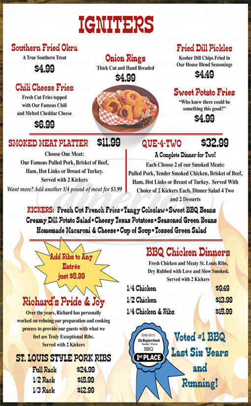 menu for Hole In the Wall BBQ