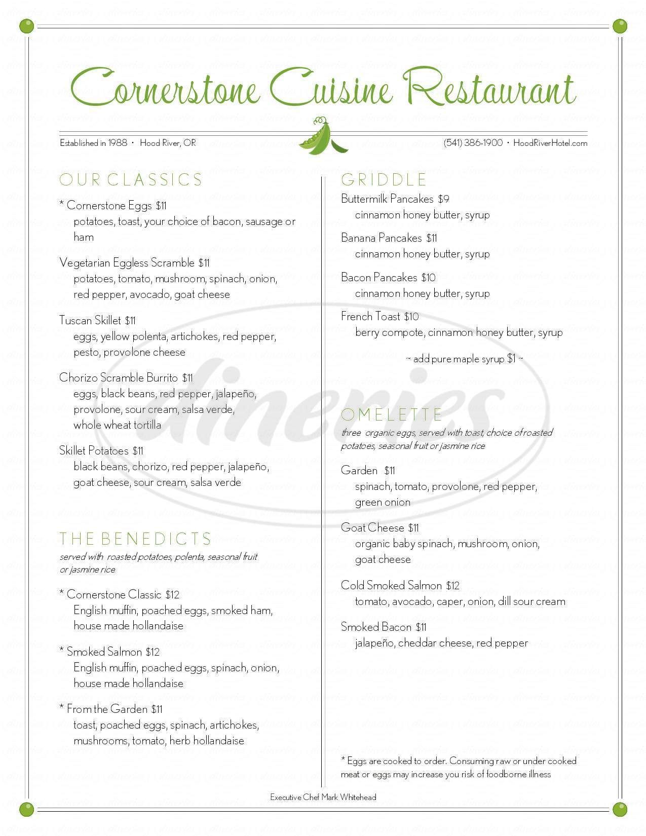 menu for Cornerstone Cuisine Restaurant