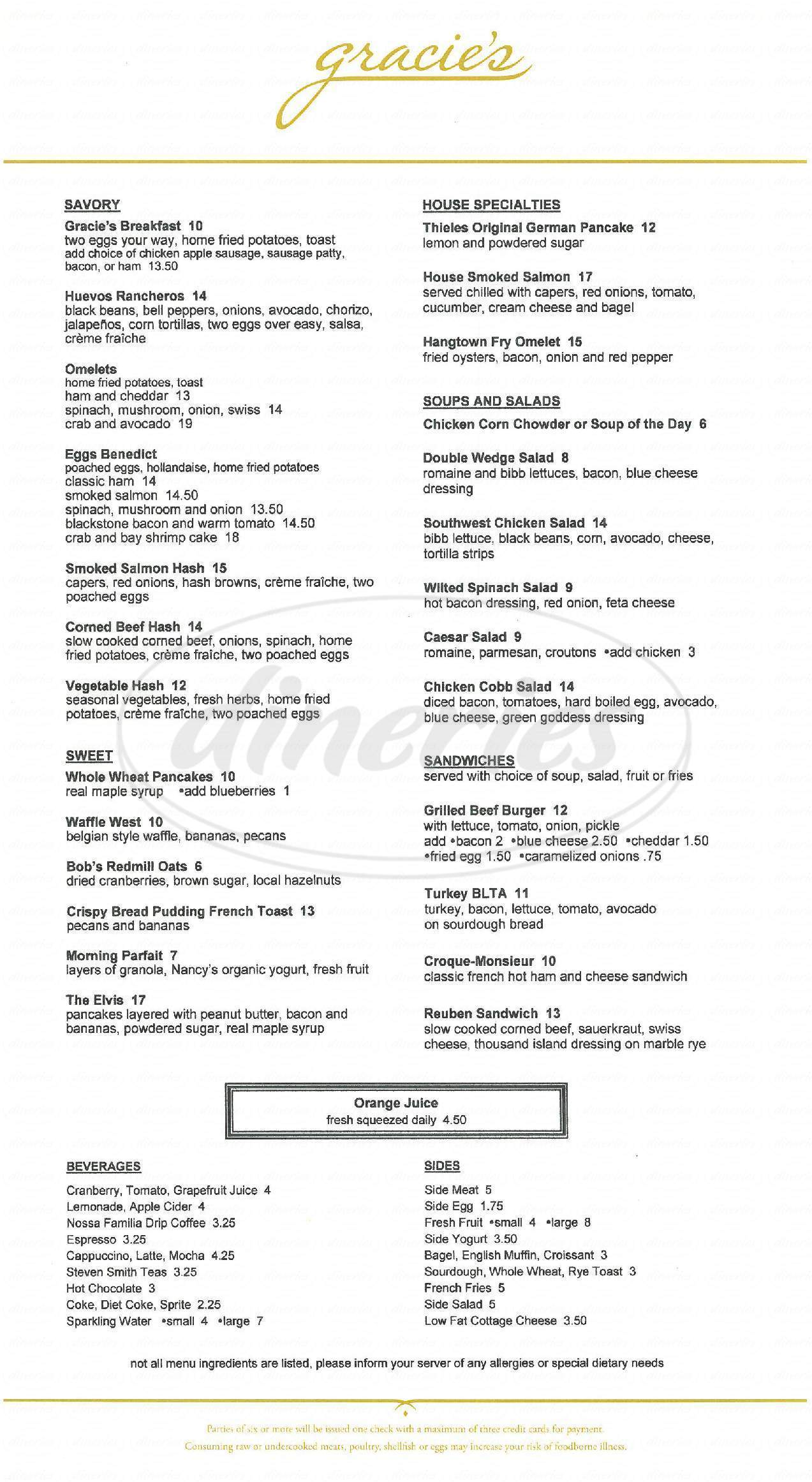 menu for Gracie's