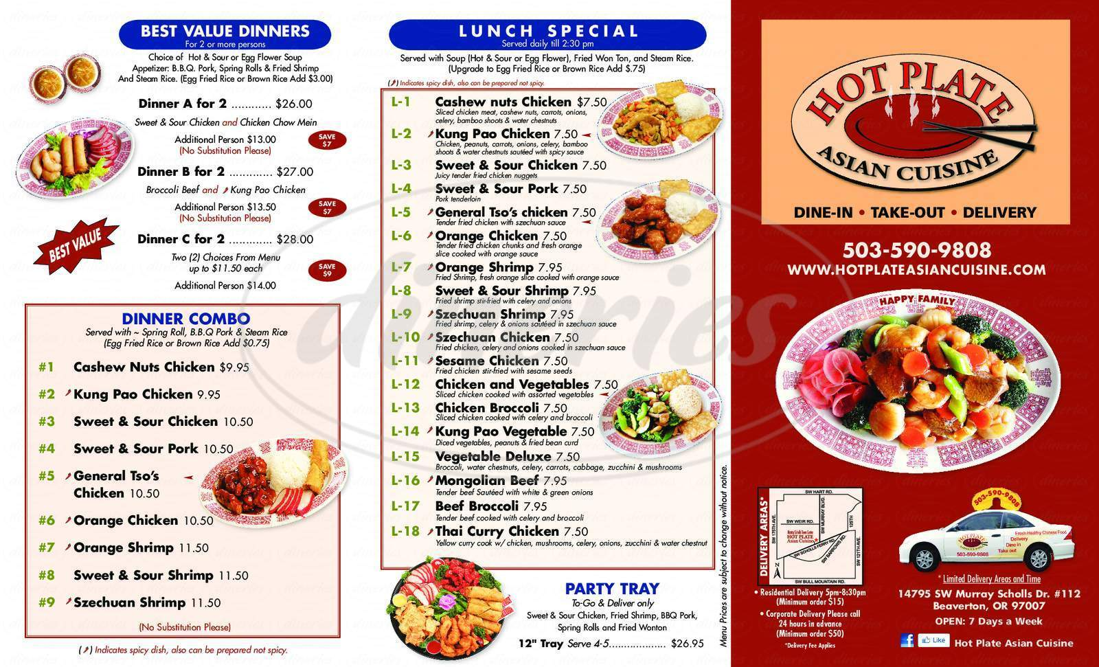 menu for Hot Plate Asian Cuisine