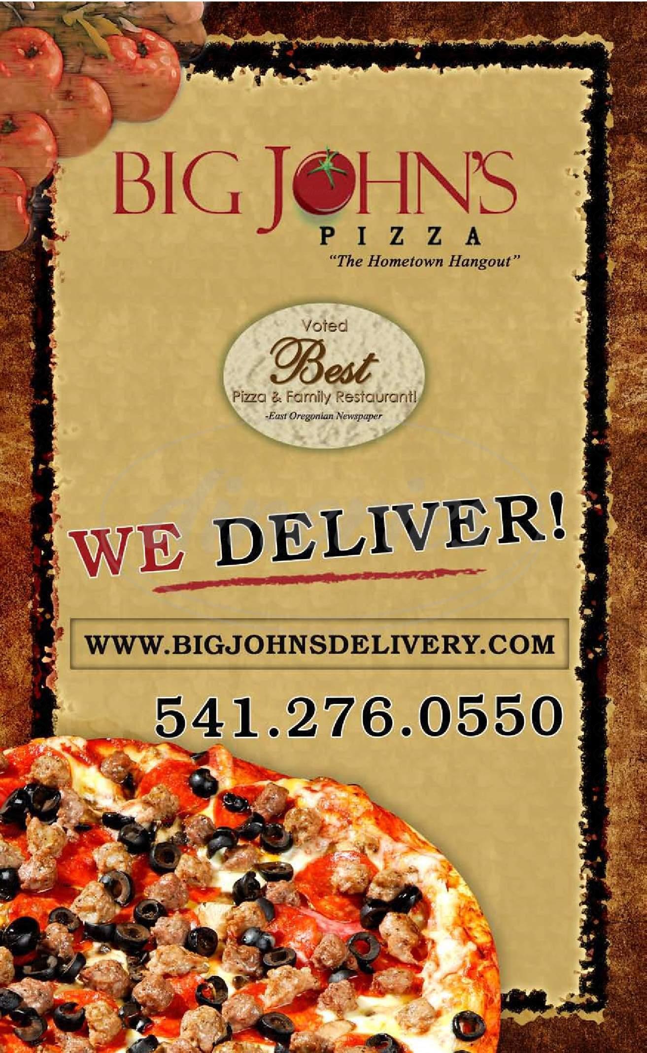 menu for Big John's Hometown Pizza
