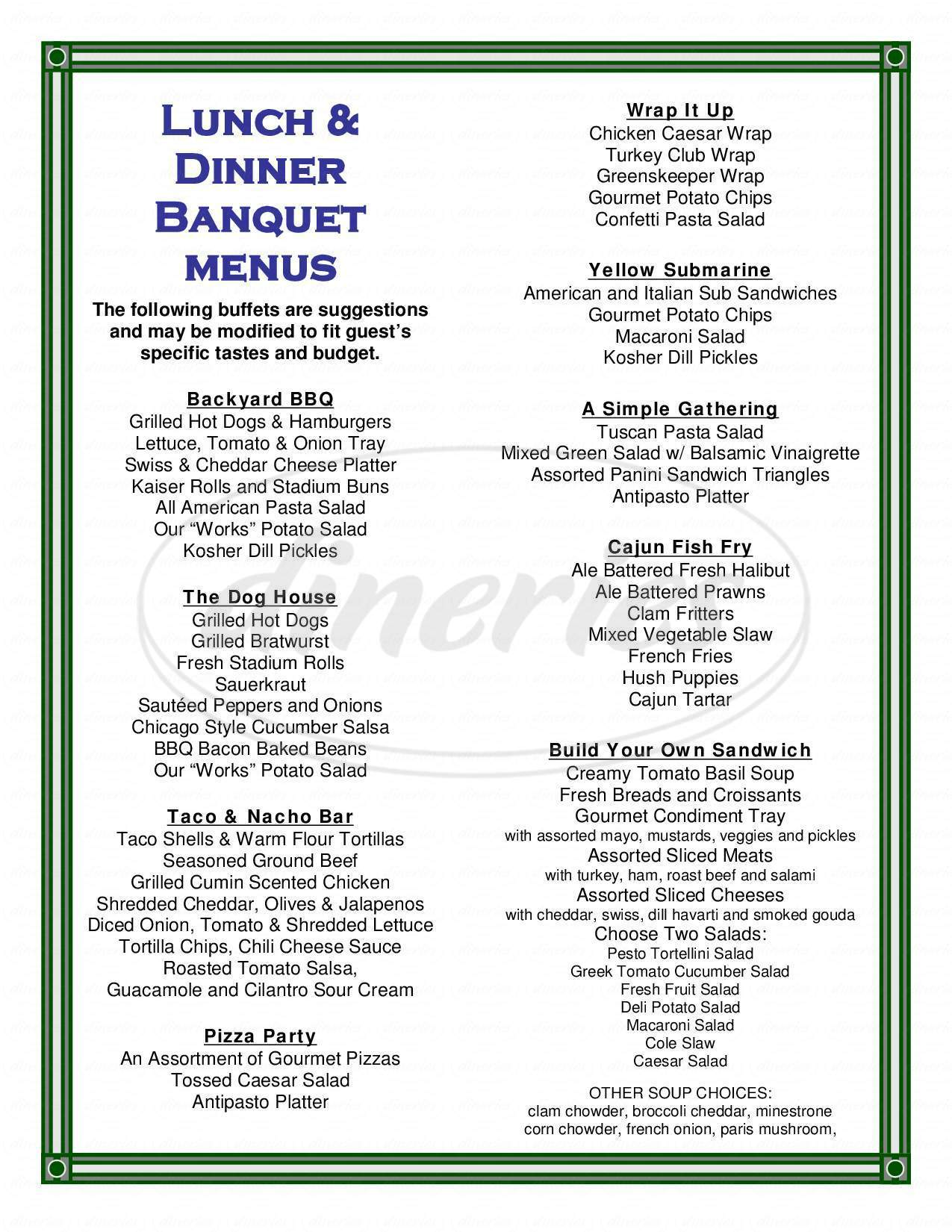 menu for Indian Creek Golf Course