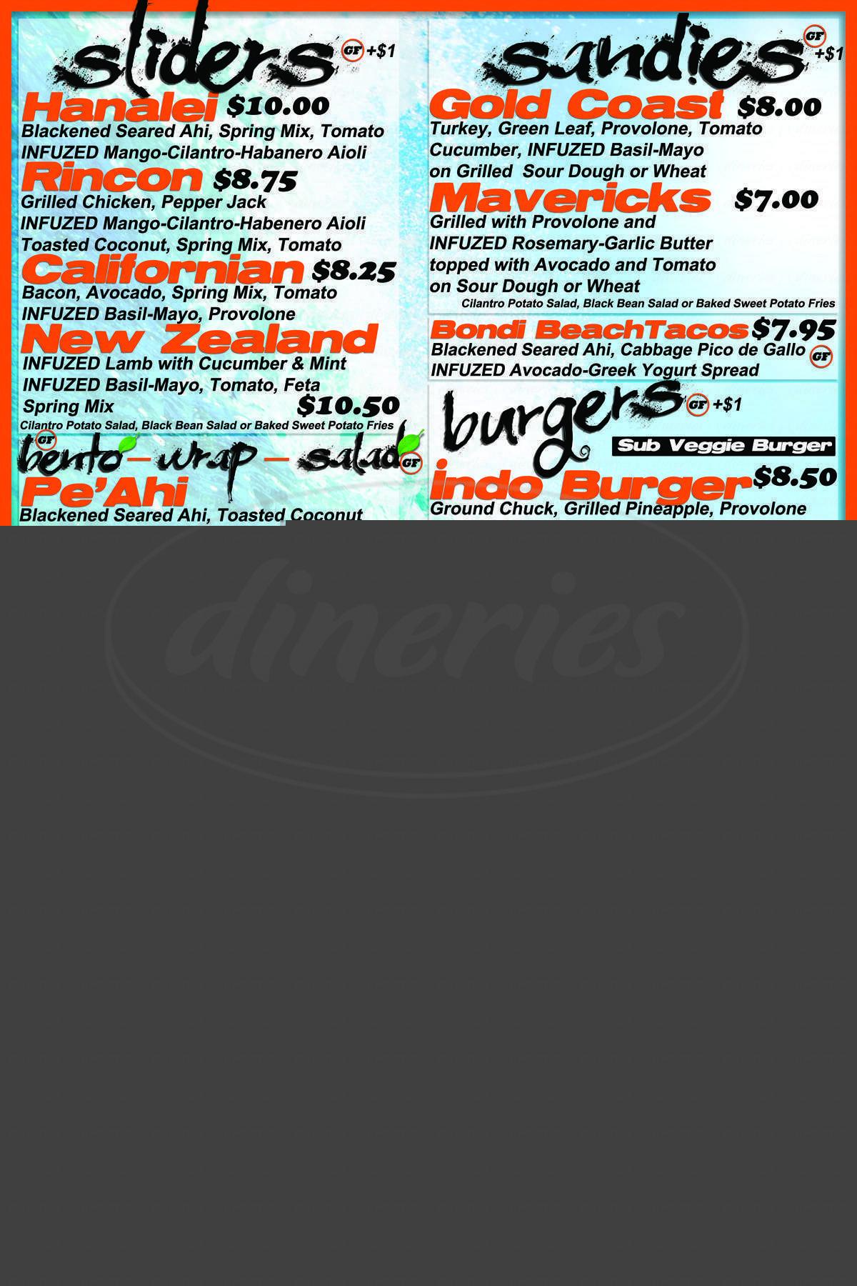 menu for Infuzed Xpress