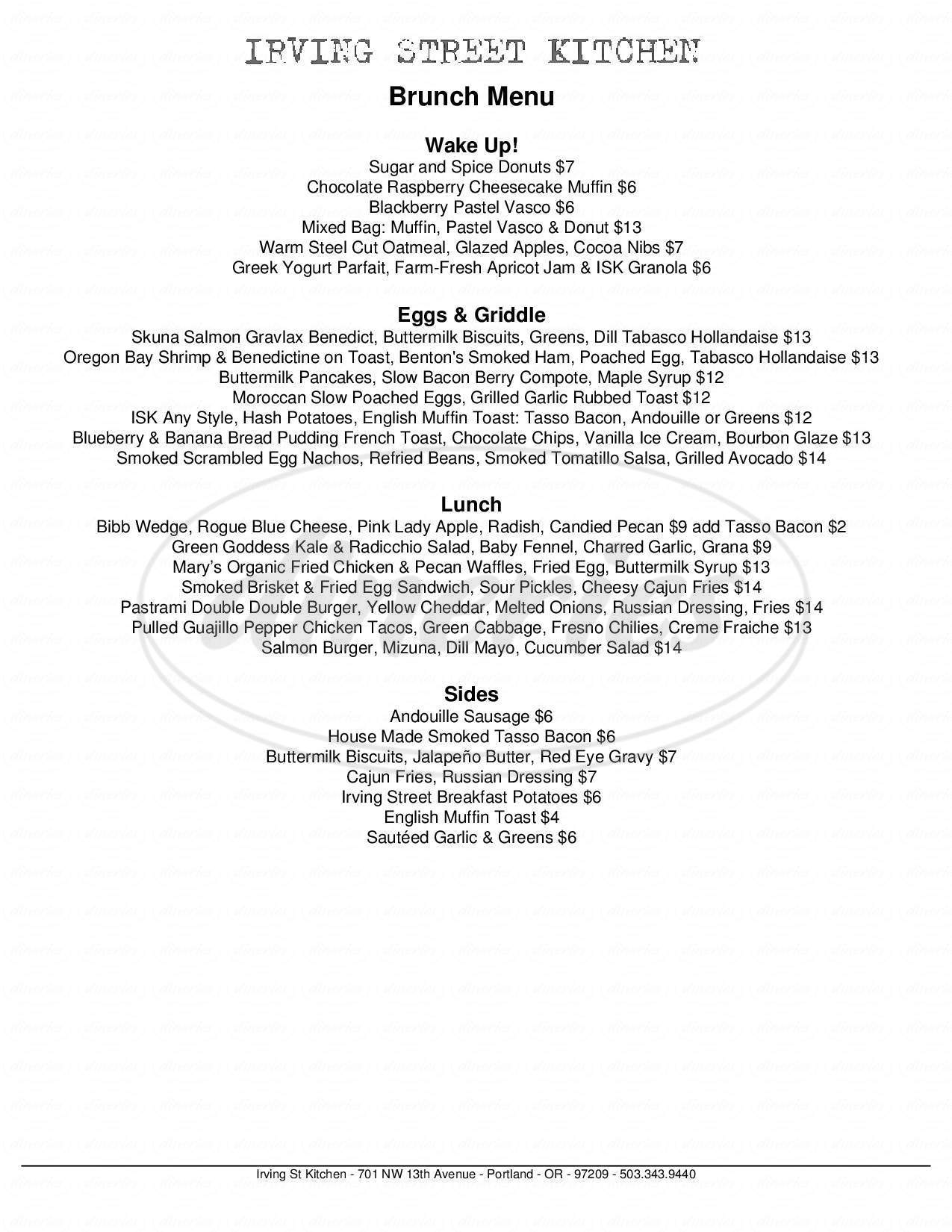 menu for Irving St. Kitchen